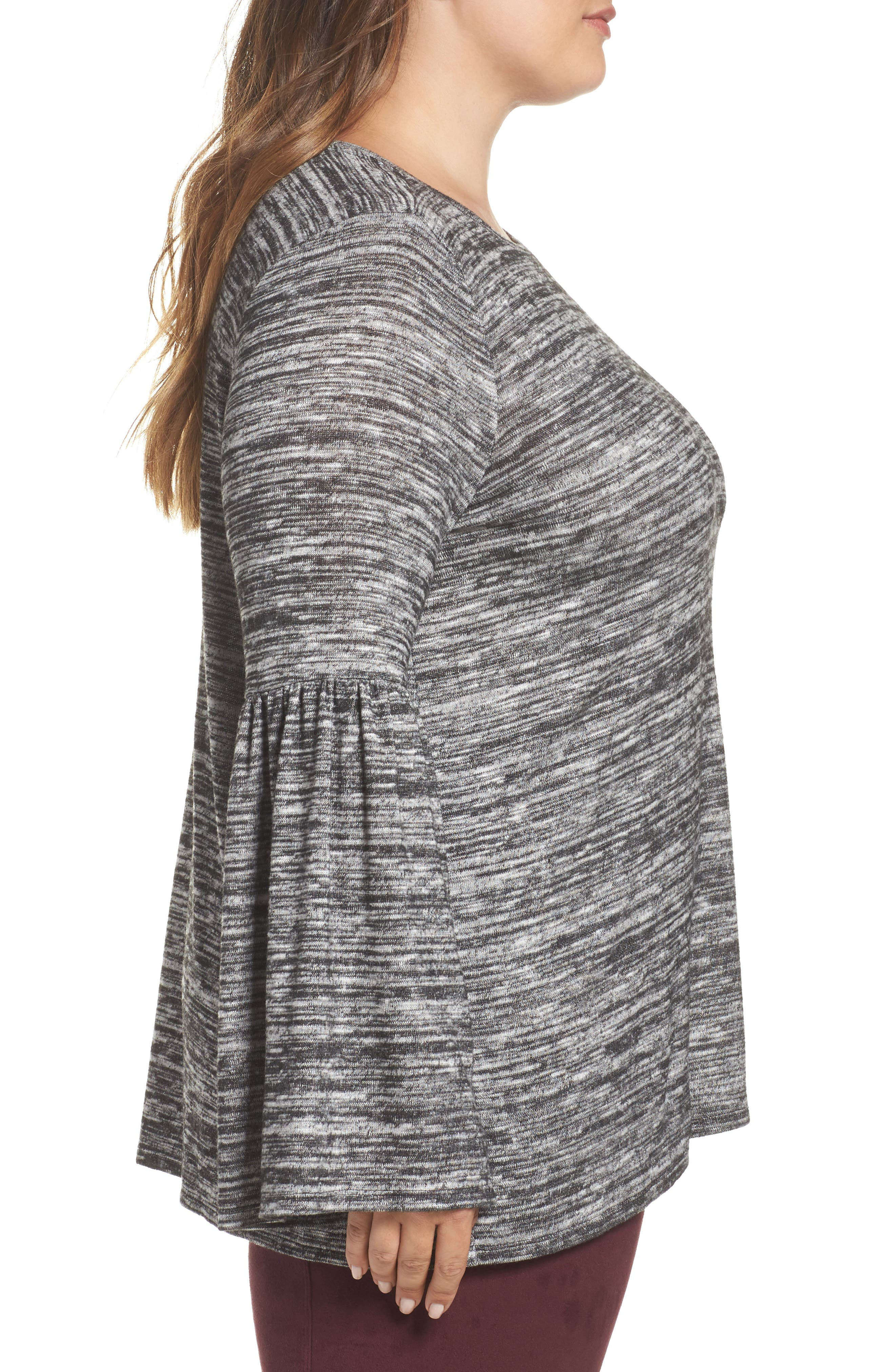 Ruched Bell Sleeve Sweater,                             Alternate thumbnail 3, color,                             091