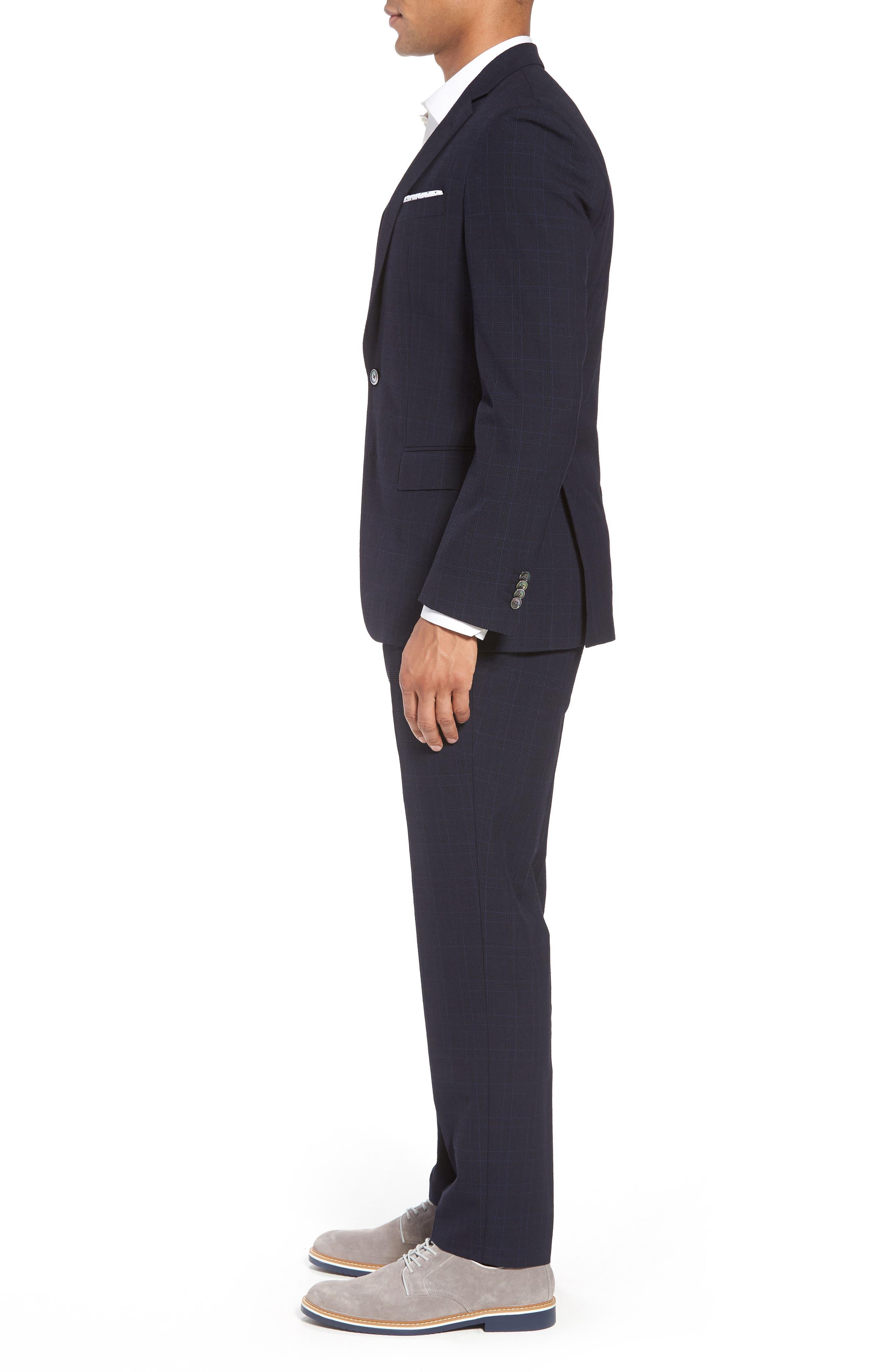 Helford/Gander Trim Fit Plaid Wool & Cotton Suit,                             Alternate thumbnail 3, color,