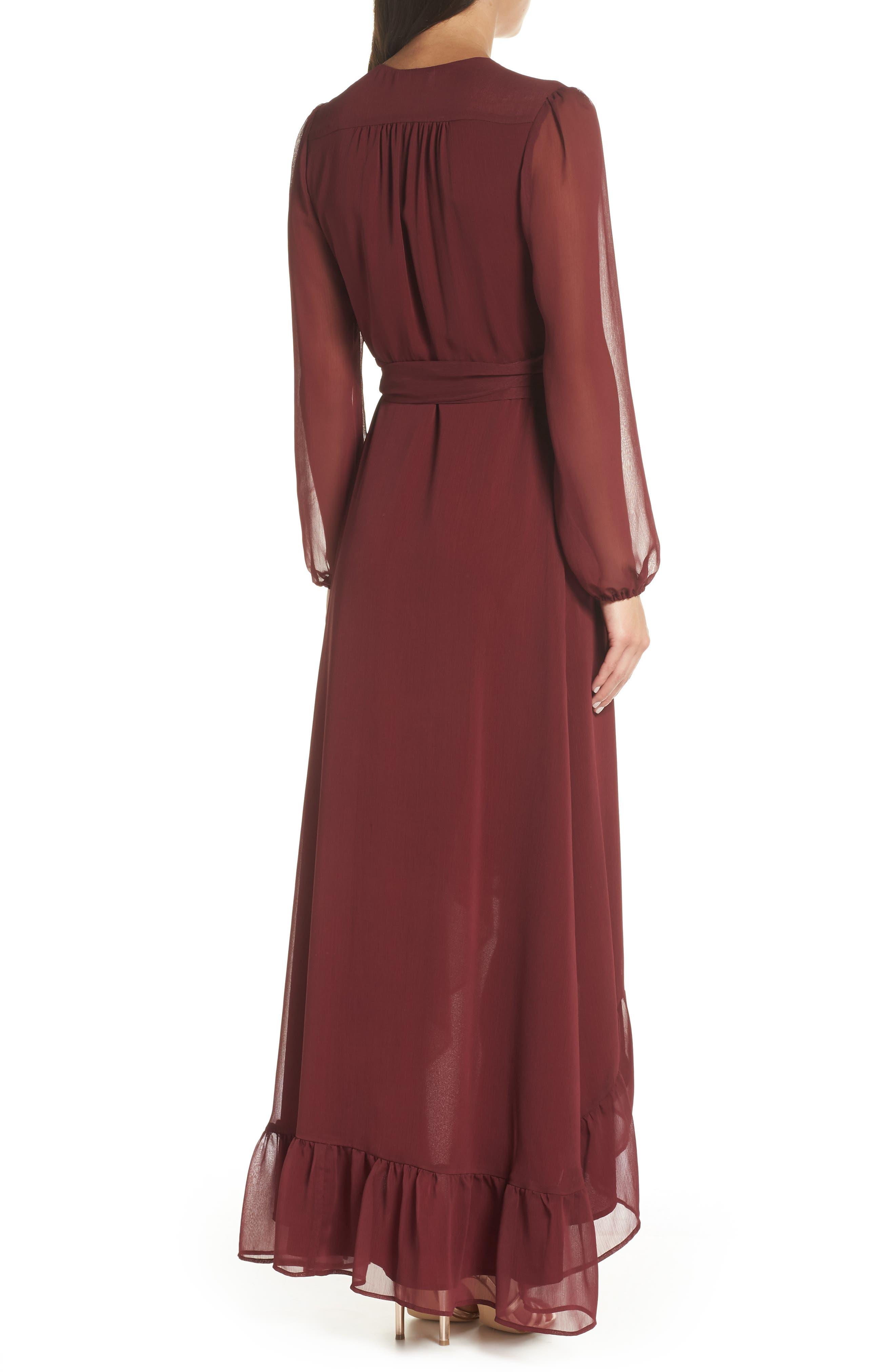 Meryl Long Sleeve Wrap Maxi Dress,                             Alternate thumbnail 2, color,                             CABERNET