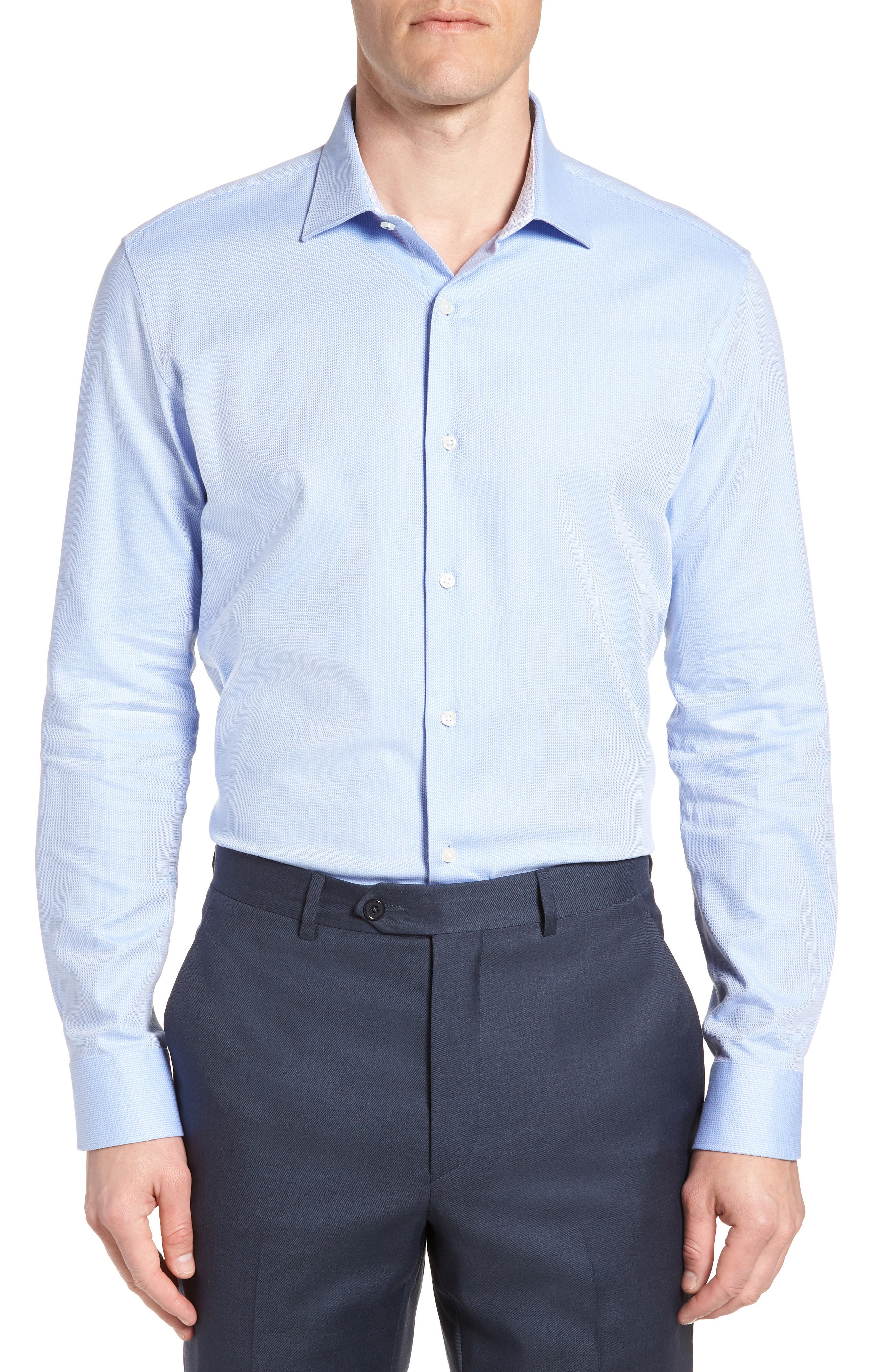 Trim Fit Stretch Performance Dress Shirt,                             Main thumbnail 1, color,                             BLUE