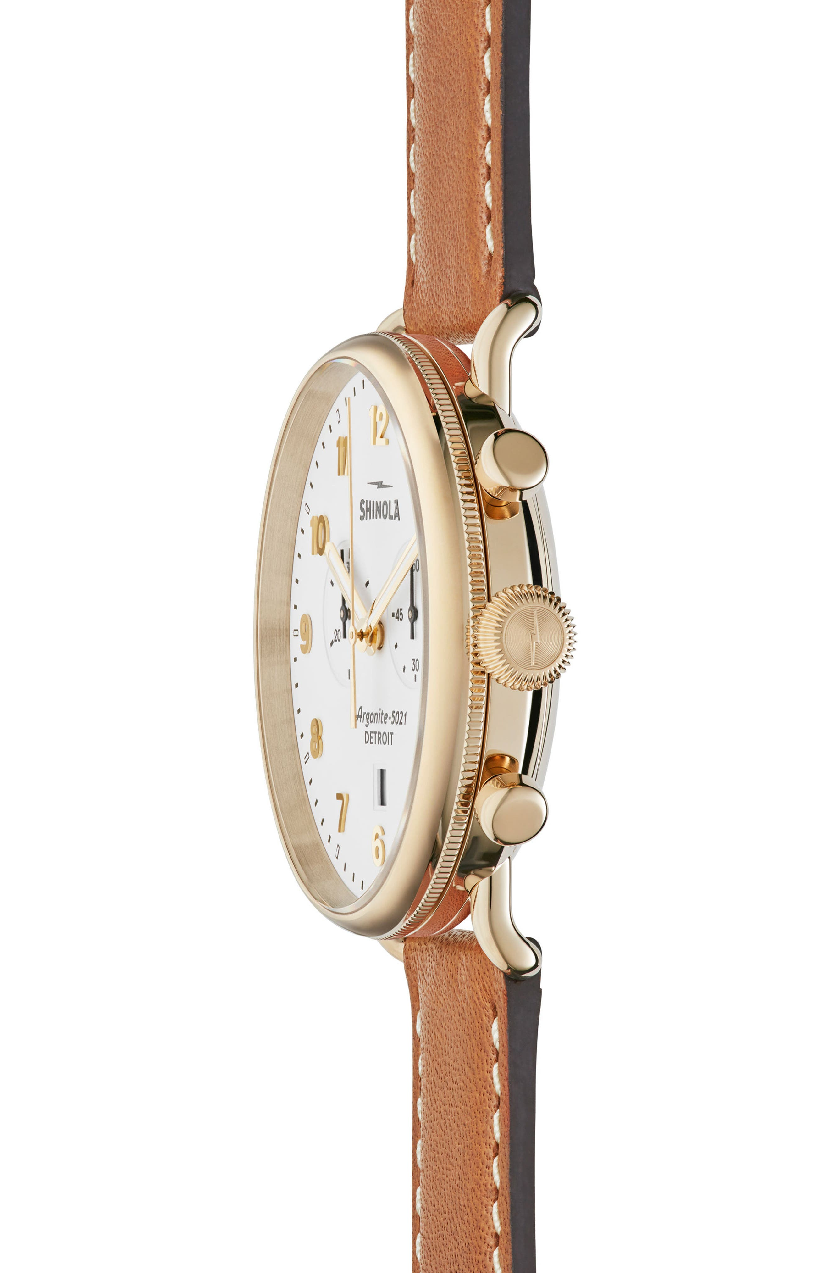 The Canfield Chrono Leather Strap Watch, 43mm,                             Alternate thumbnail 3, color,                             TAN/ WHITE/ GOLD