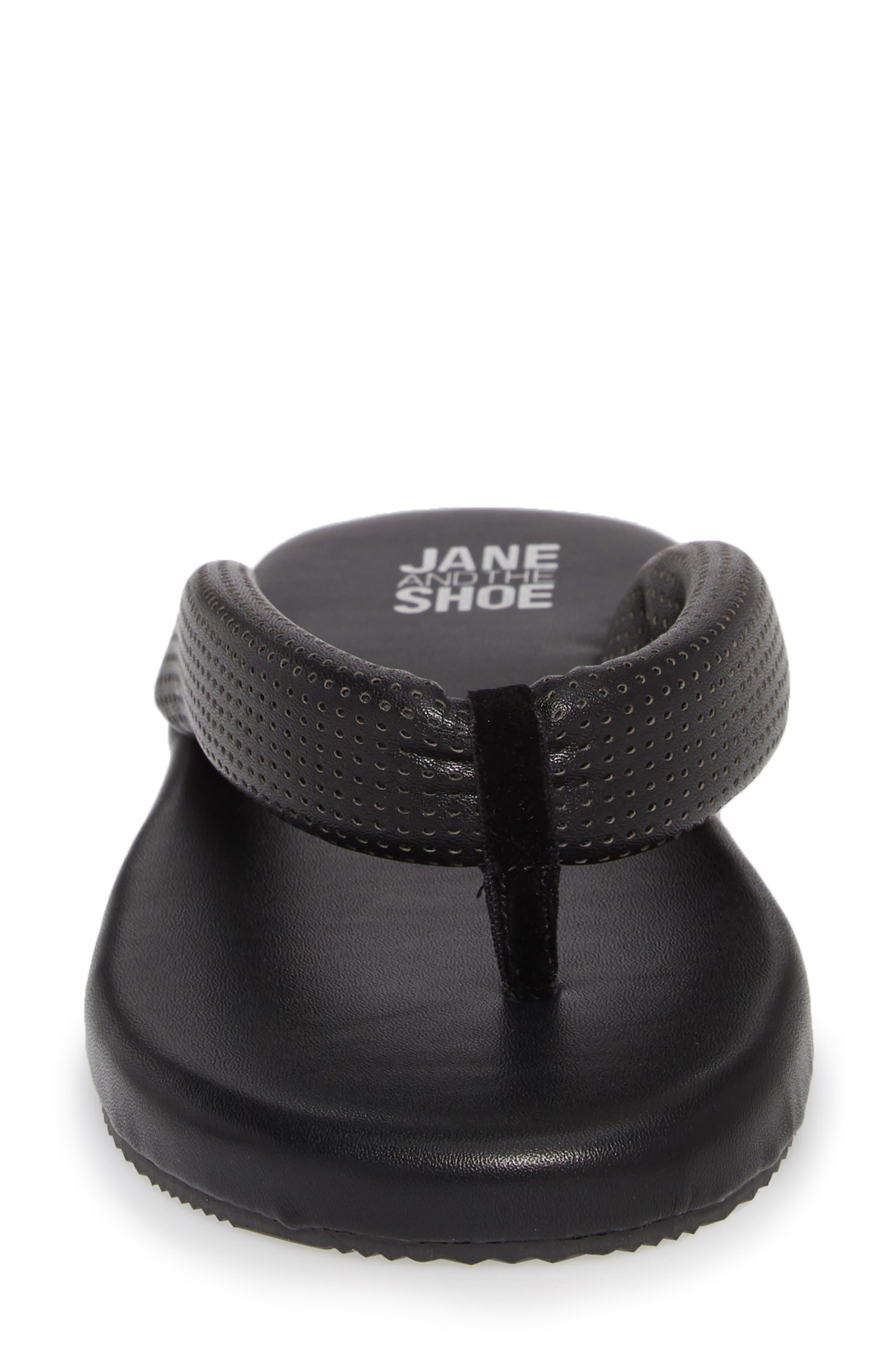 Jaime Plush Flip Flop,                             Alternate thumbnail 4, color,                             BLACK