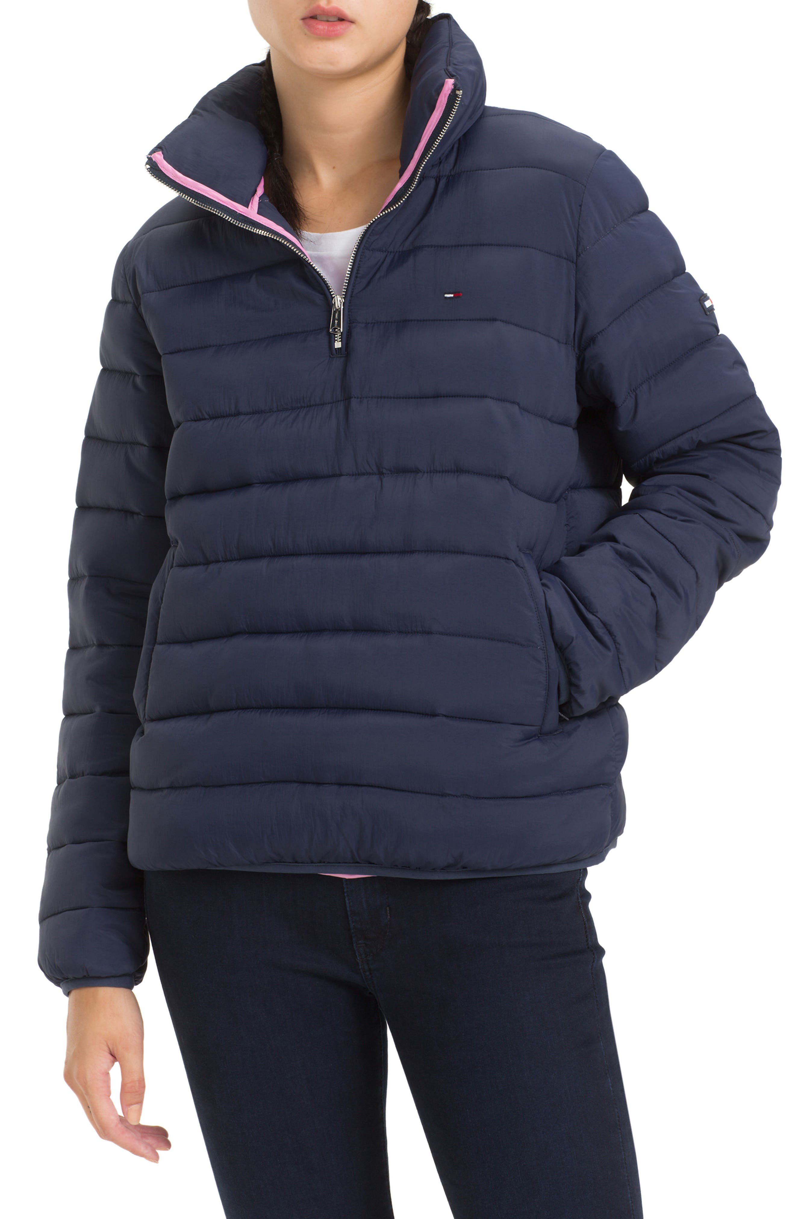 TJW Quilted Half-Zip Puffer Jacket,                         Main,                         color, BLACK IRIS