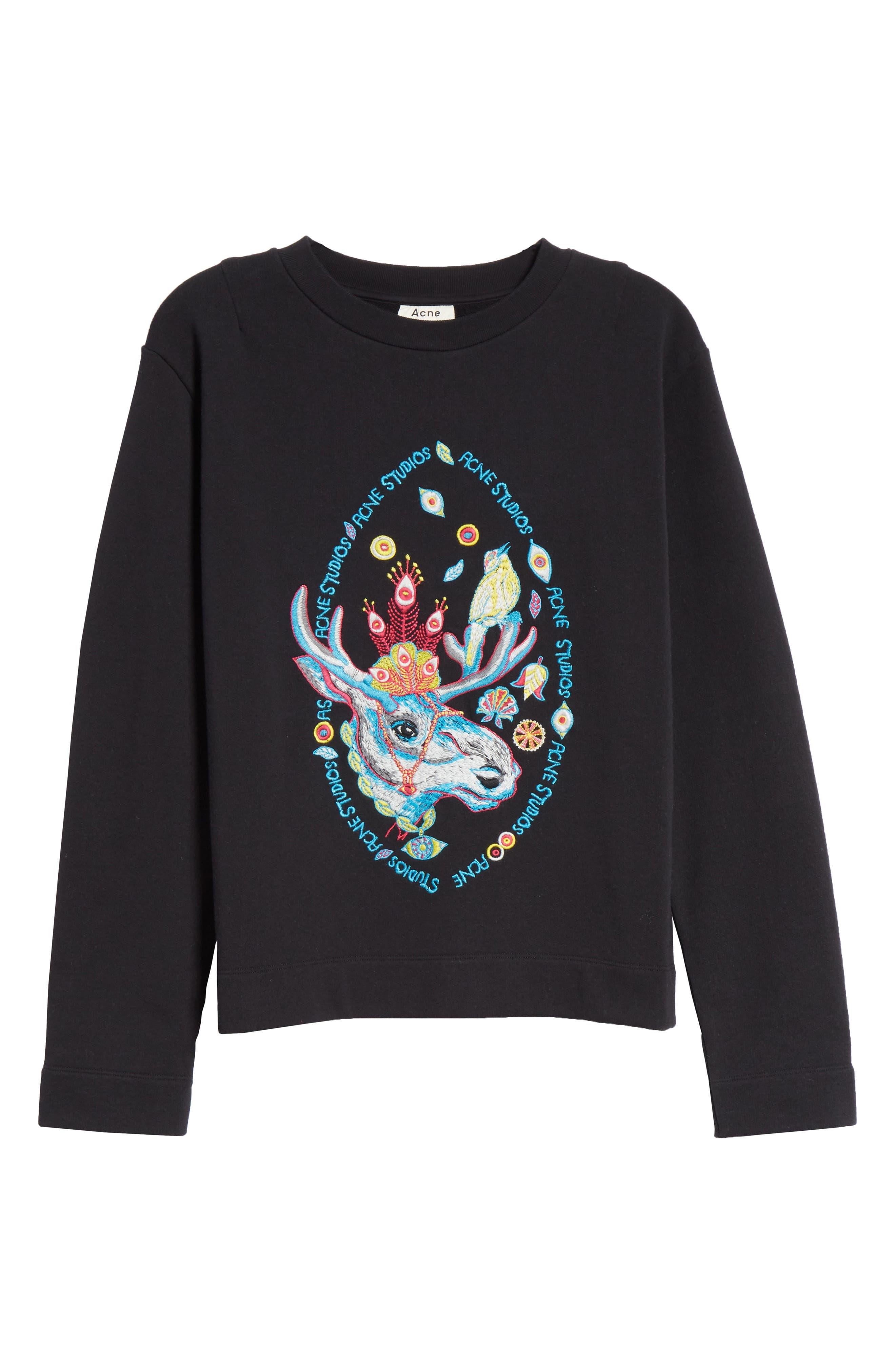 Oslavi Embroidered Moose Sweatshirt,                             Alternate thumbnail 6, color,                             001