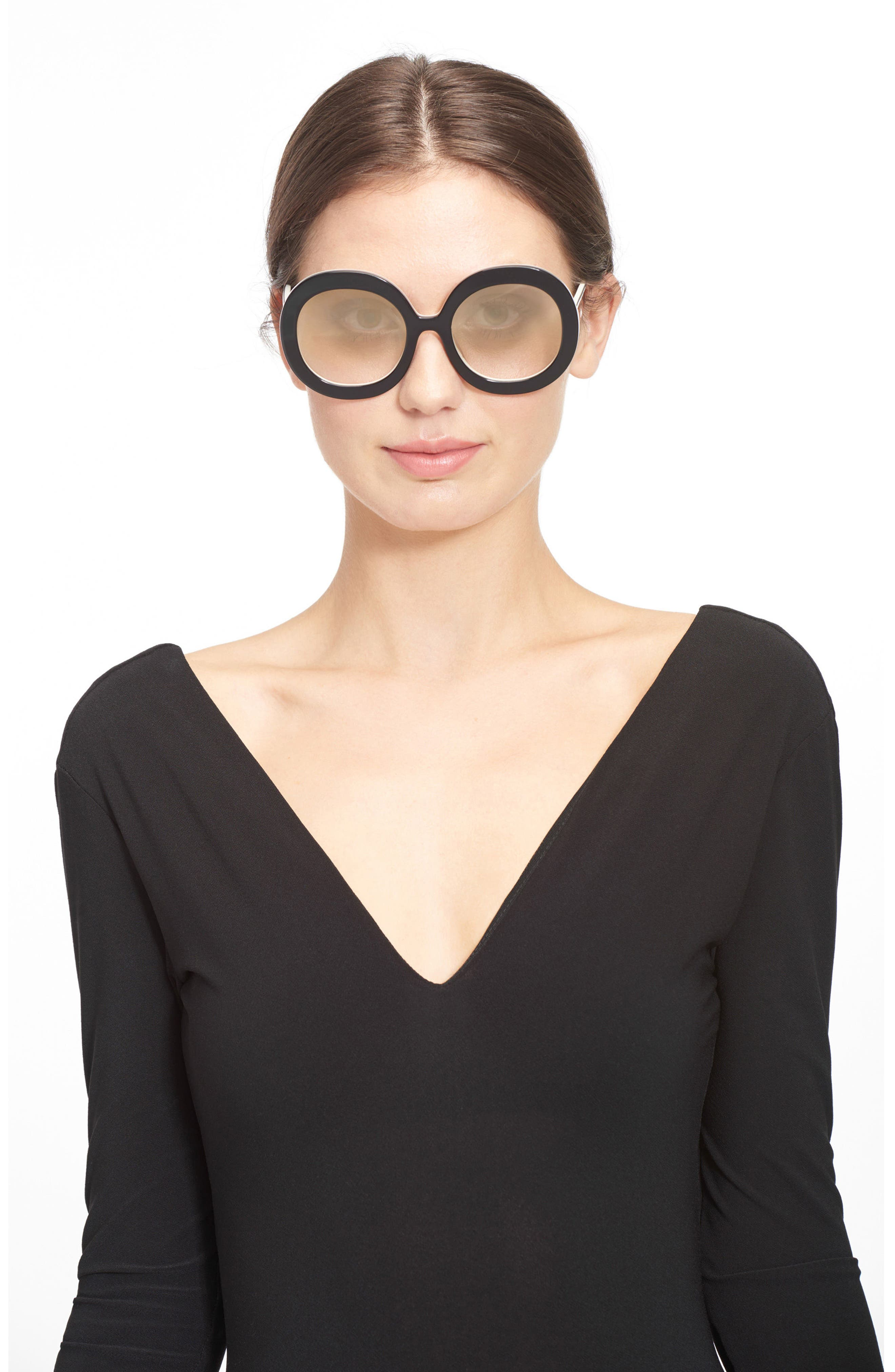 Melrose 56mm Round Sunglasses,                             Alternate thumbnail 3, color,                             001