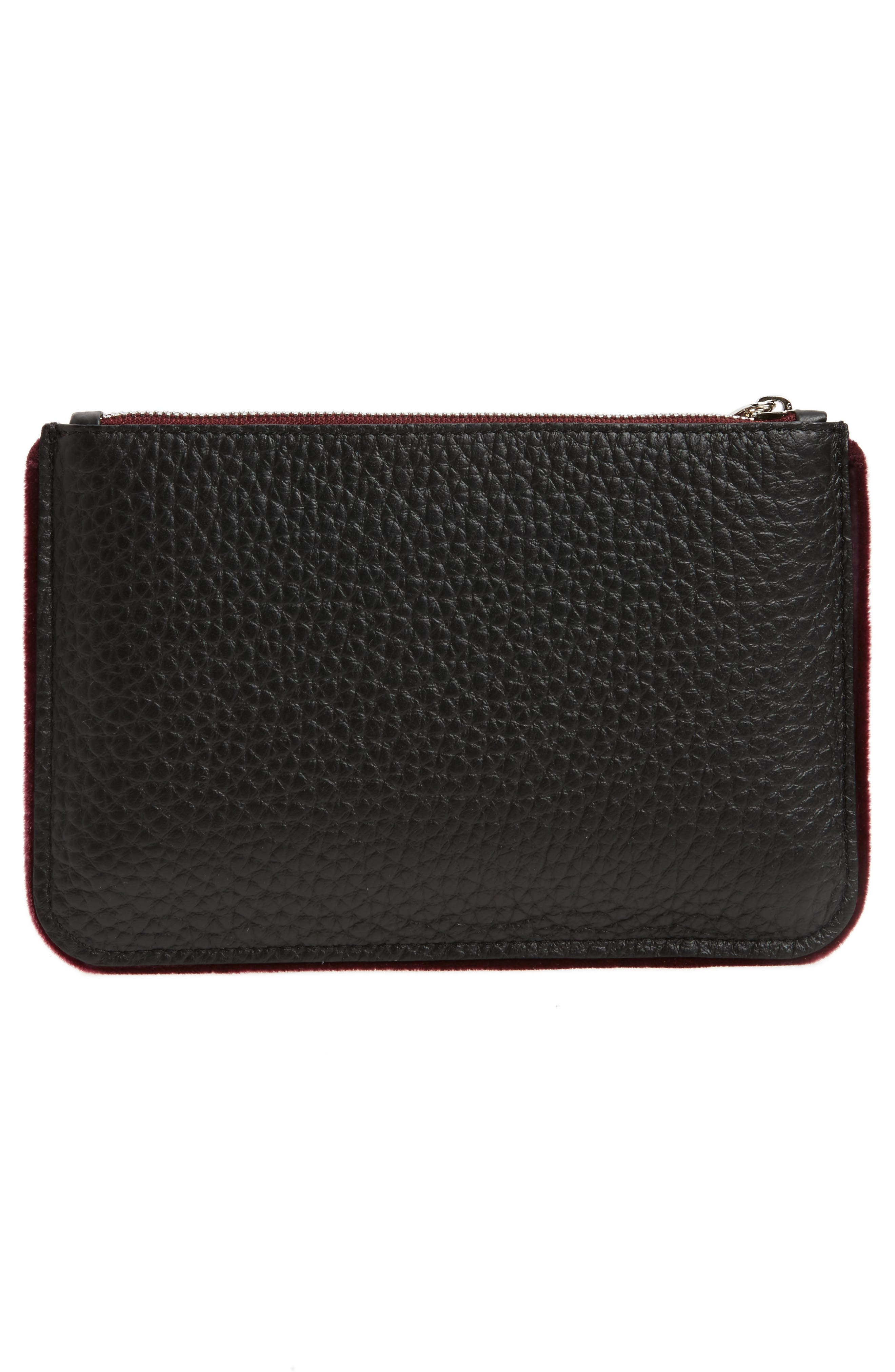 Large Soft Line Velvet Trim Calfskin Leather Pouch,                             Alternate thumbnail 6, color,
