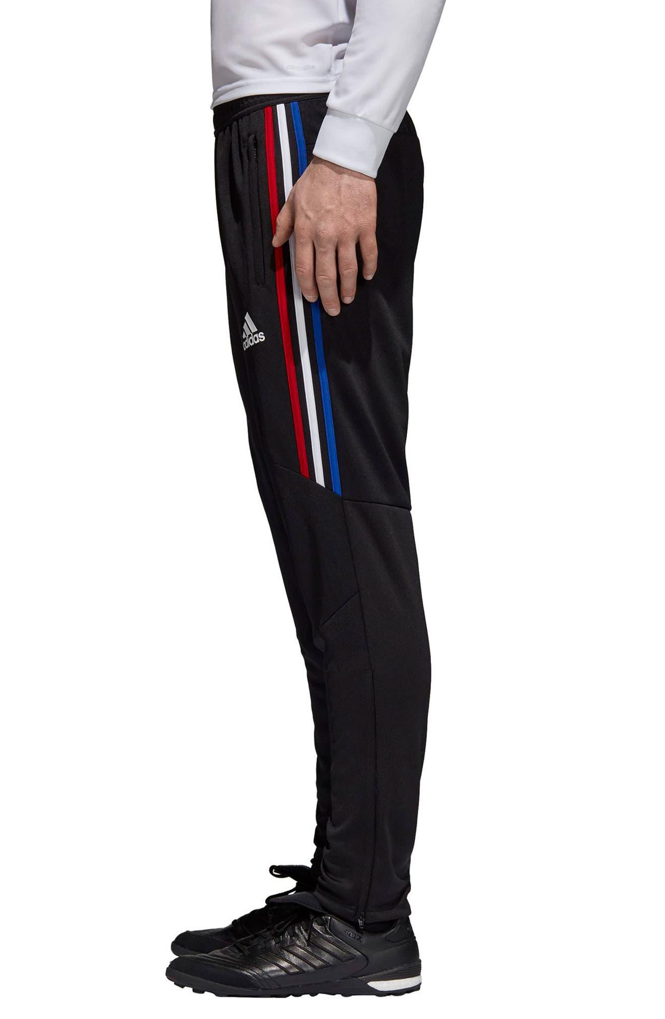 Tiro 17 Regular Fit Training Pants,                             Alternate thumbnail 3, color,                             BLACK/ RED/ WHITE/ BLUE