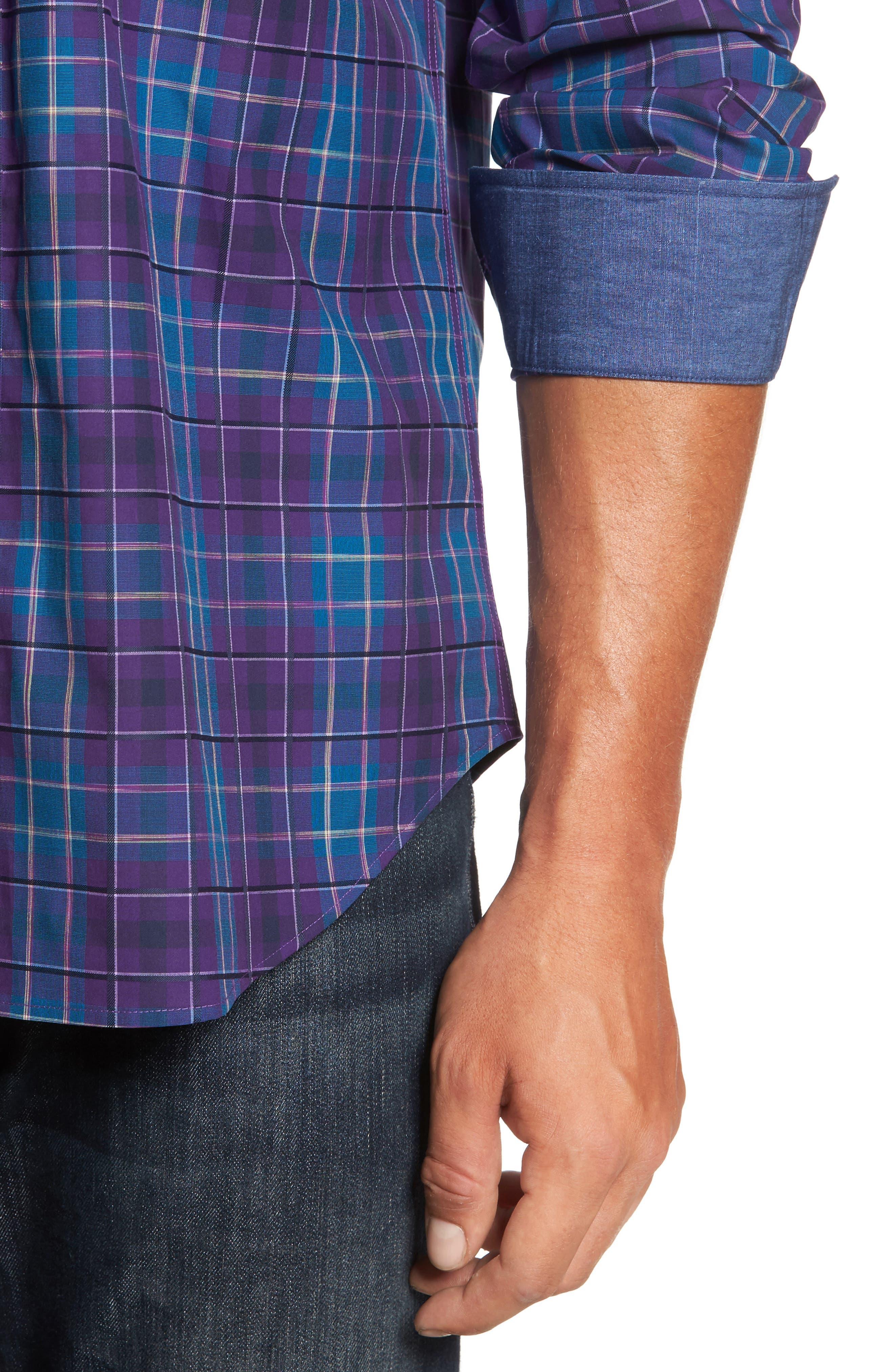 Classic Fit Plaid Sport Shirt,                             Alternate thumbnail 4, color,                             513