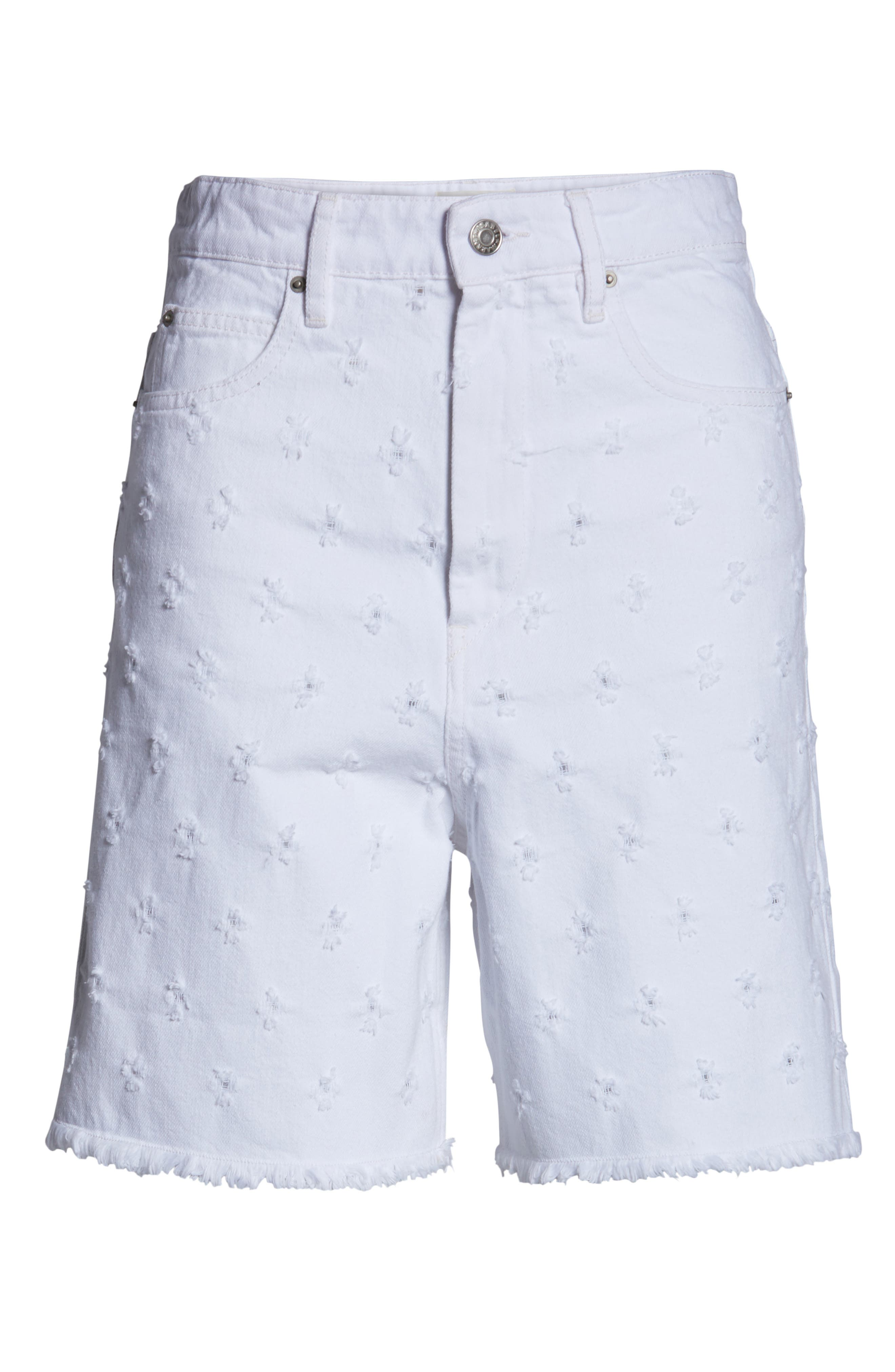 Liny Shredded Dot Denim Shorts,                             Alternate thumbnail 7, color,                             WHITE