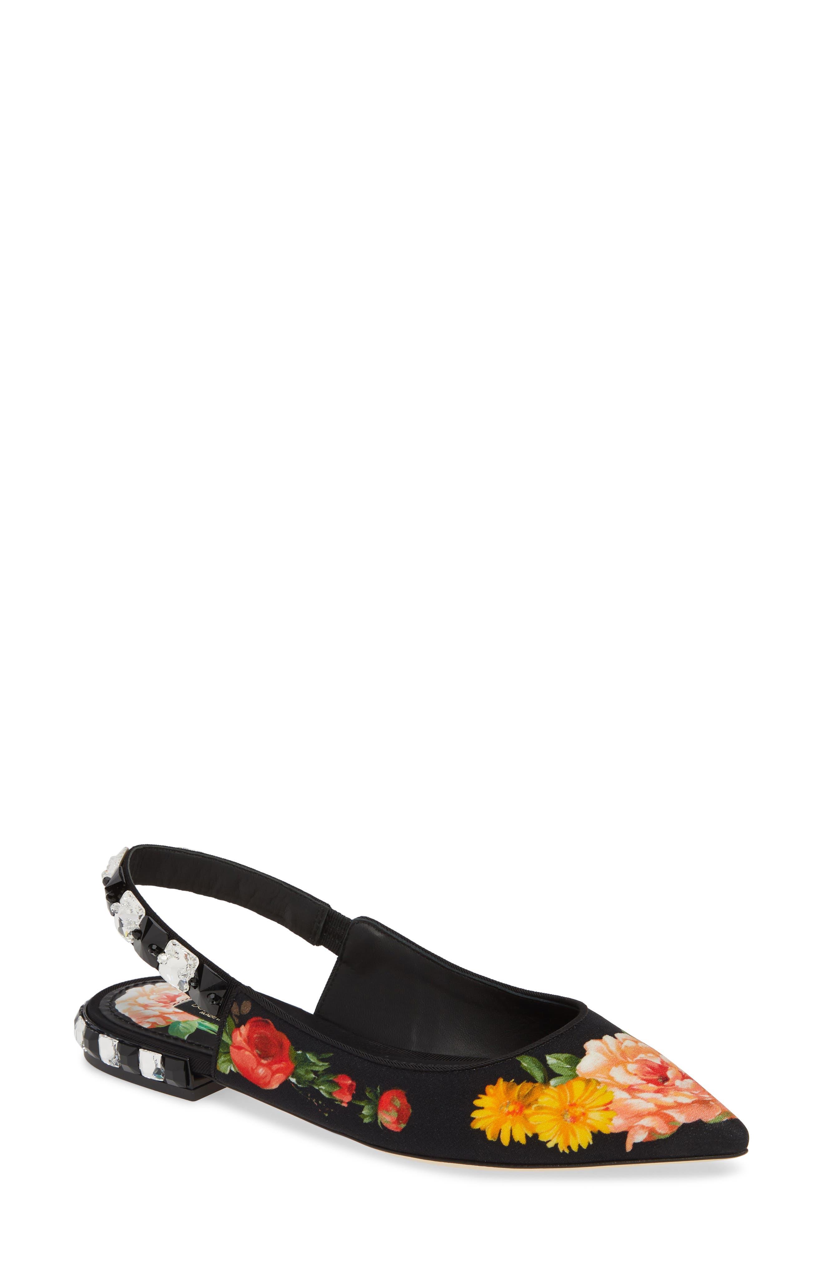 DOLCE&GABBANA Floral Print Slingback Flat, Main, color, FLORAL PRINT