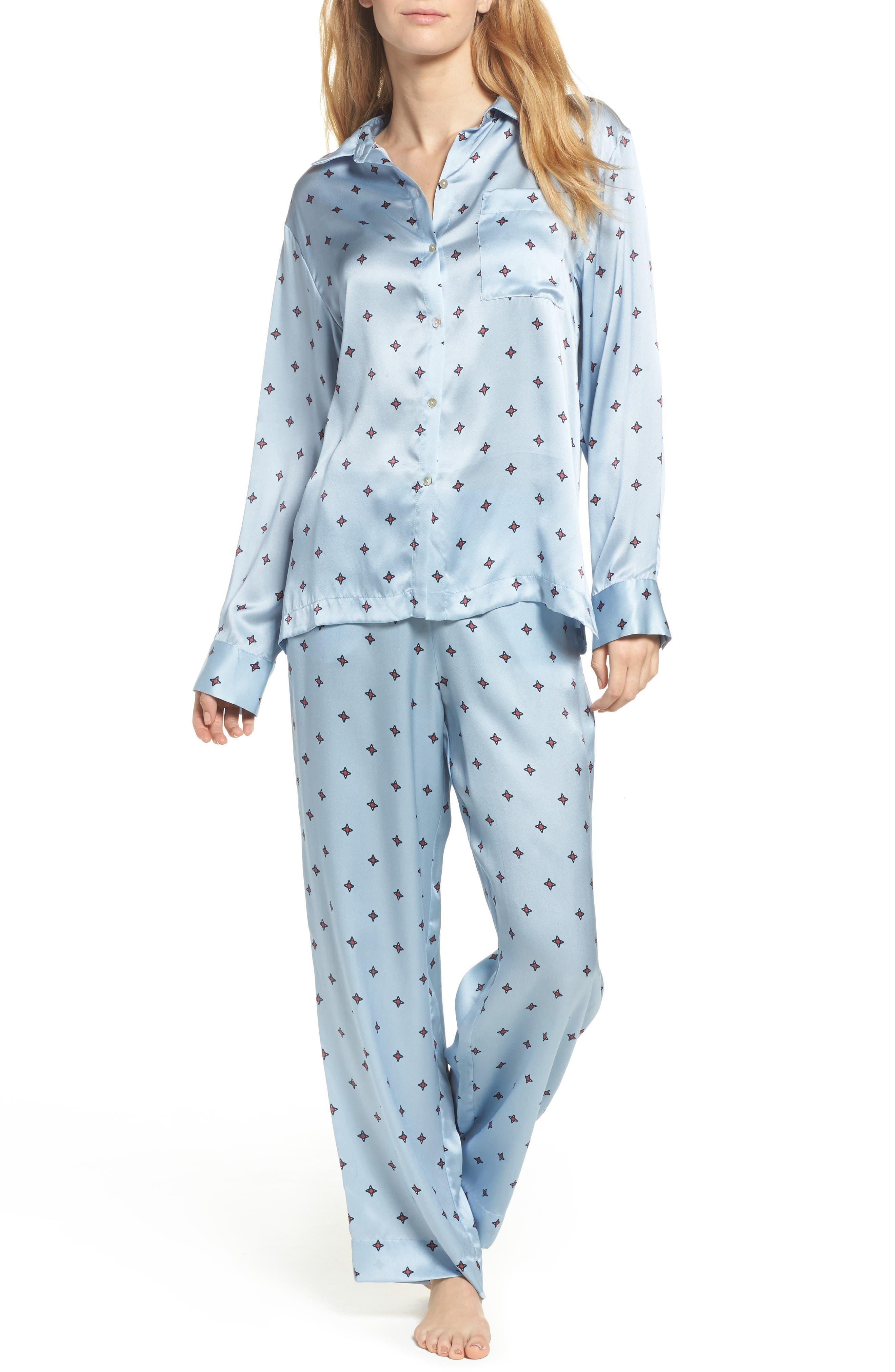 Print Silk Pajama Pants,                             Alternate thumbnail 7, color,                             400