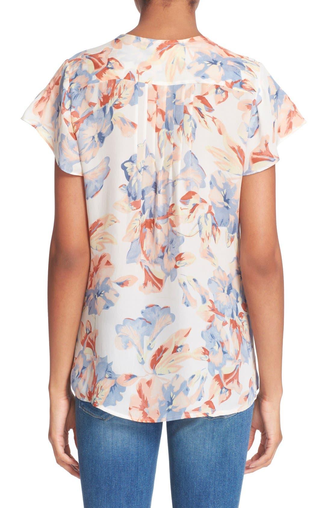 JOIE,                             'Annite' Floral Print Silk Top,                             Alternate thumbnail 4, color,                             901