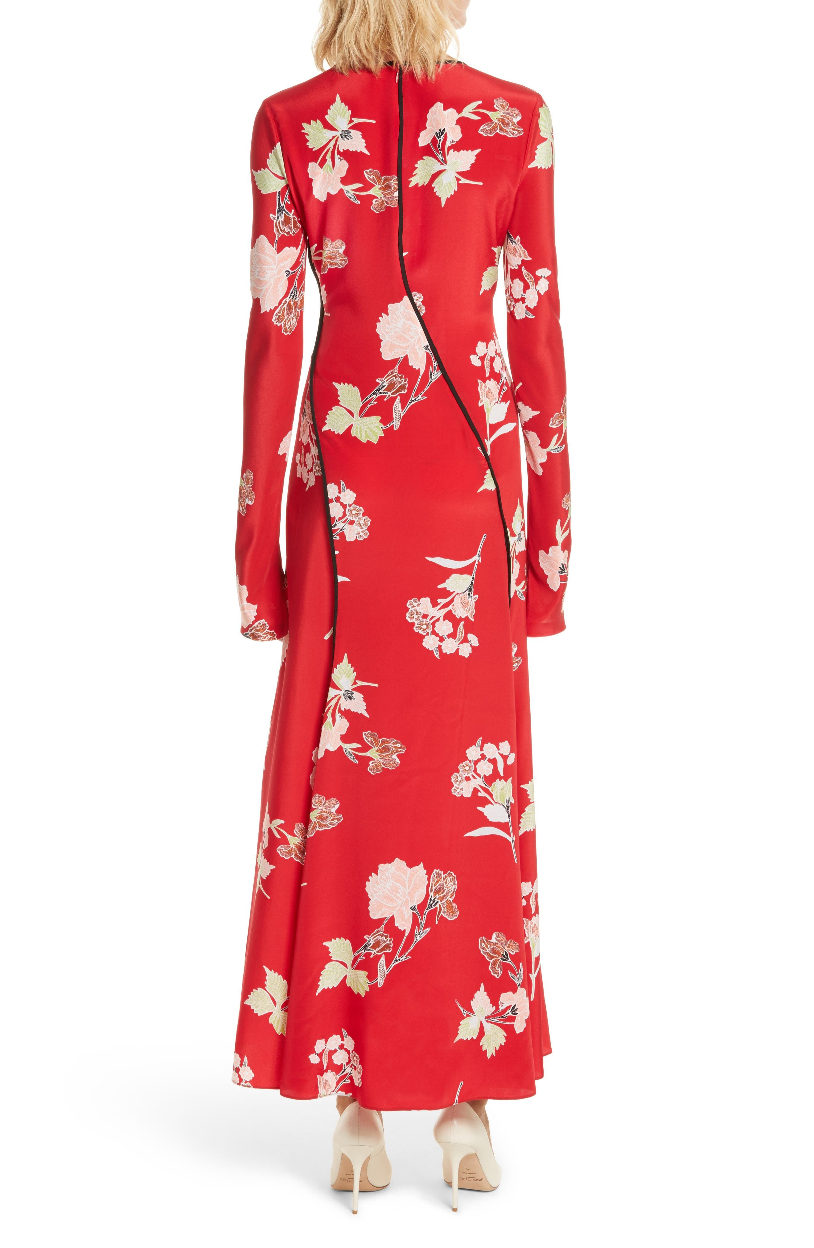 Bias Cut Floral Silk Maxi Dress,                             Alternate thumbnail 2, color,                             616