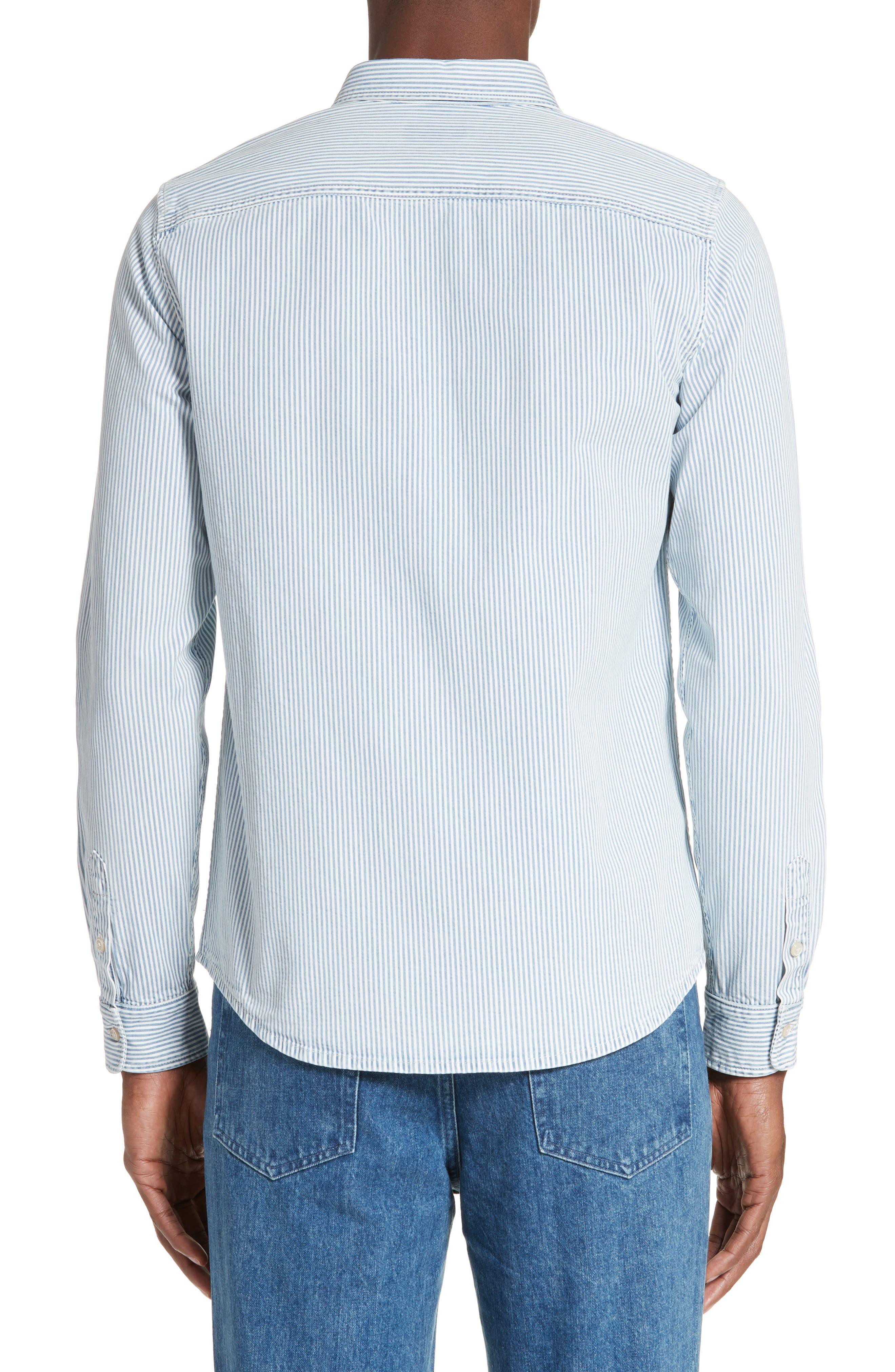 Riga Microstripe Denim Sport Shirt,                             Alternate thumbnail 2, color,                             461