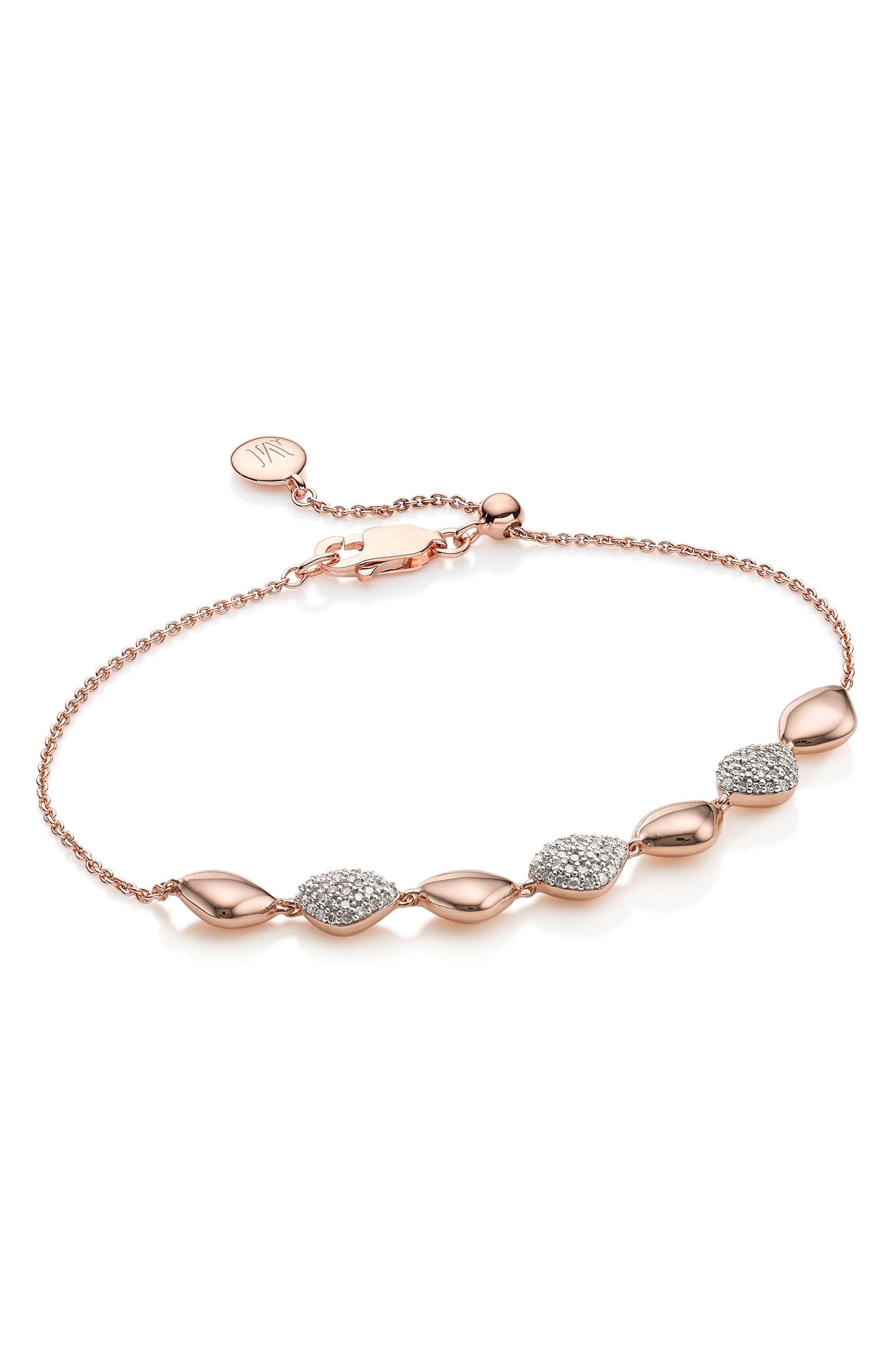 Nura Teardrop Diamond Bracelet,                             Main thumbnail 1, color,                             ROSE GOLD/ DIAMOND