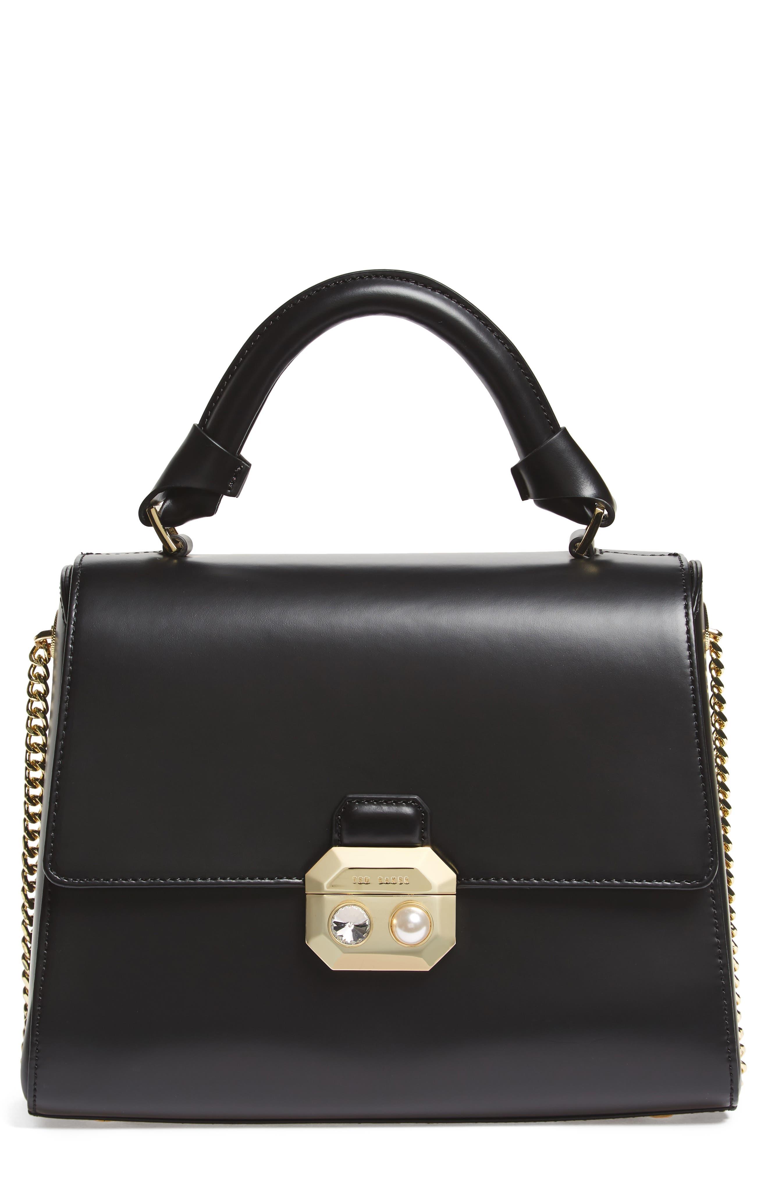 Leather Top Handle Satchel,                         Main,                         color, 001