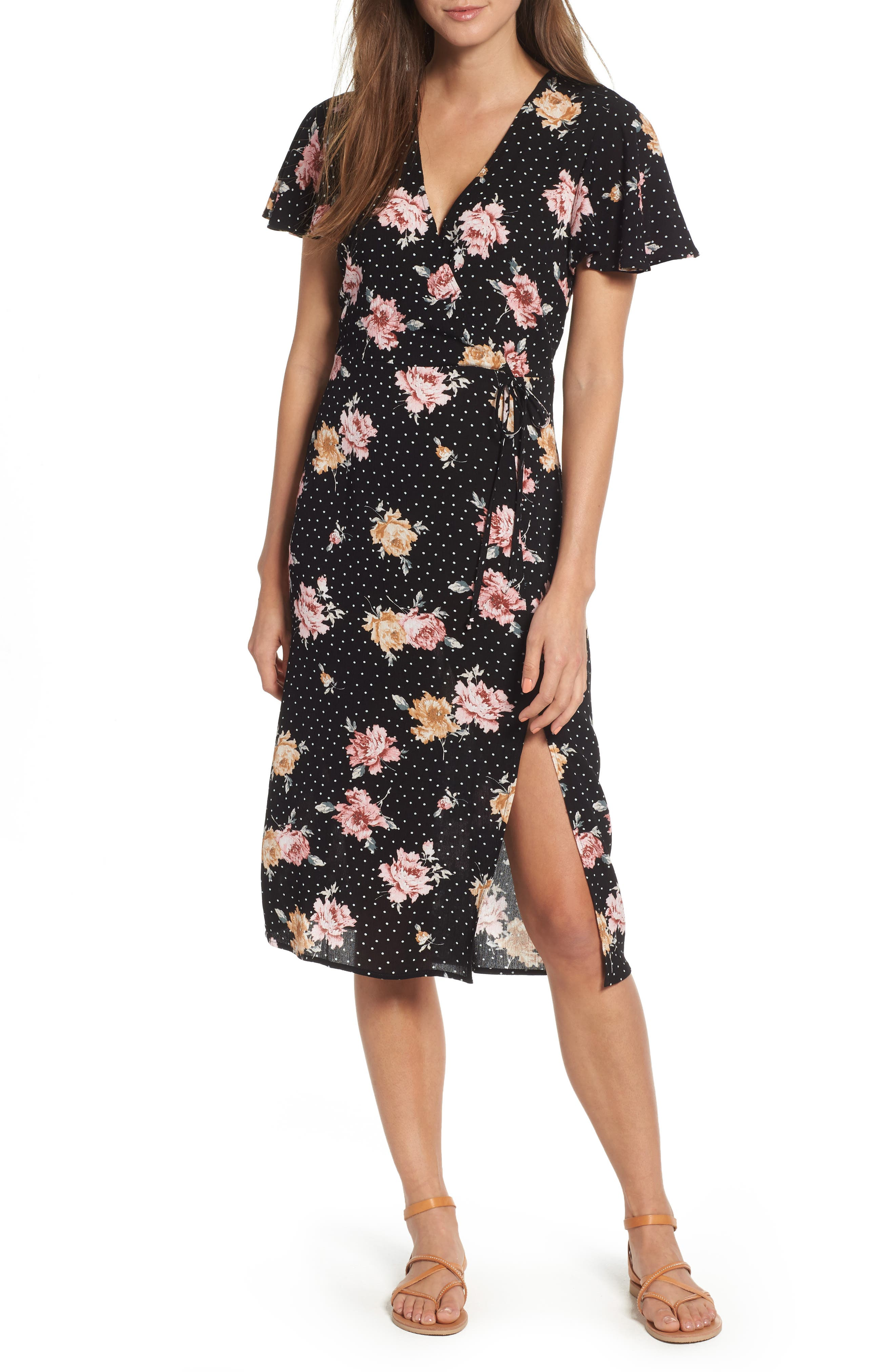 Print Tie Front Dress,                         Main,                         color, BLACK FLORAL