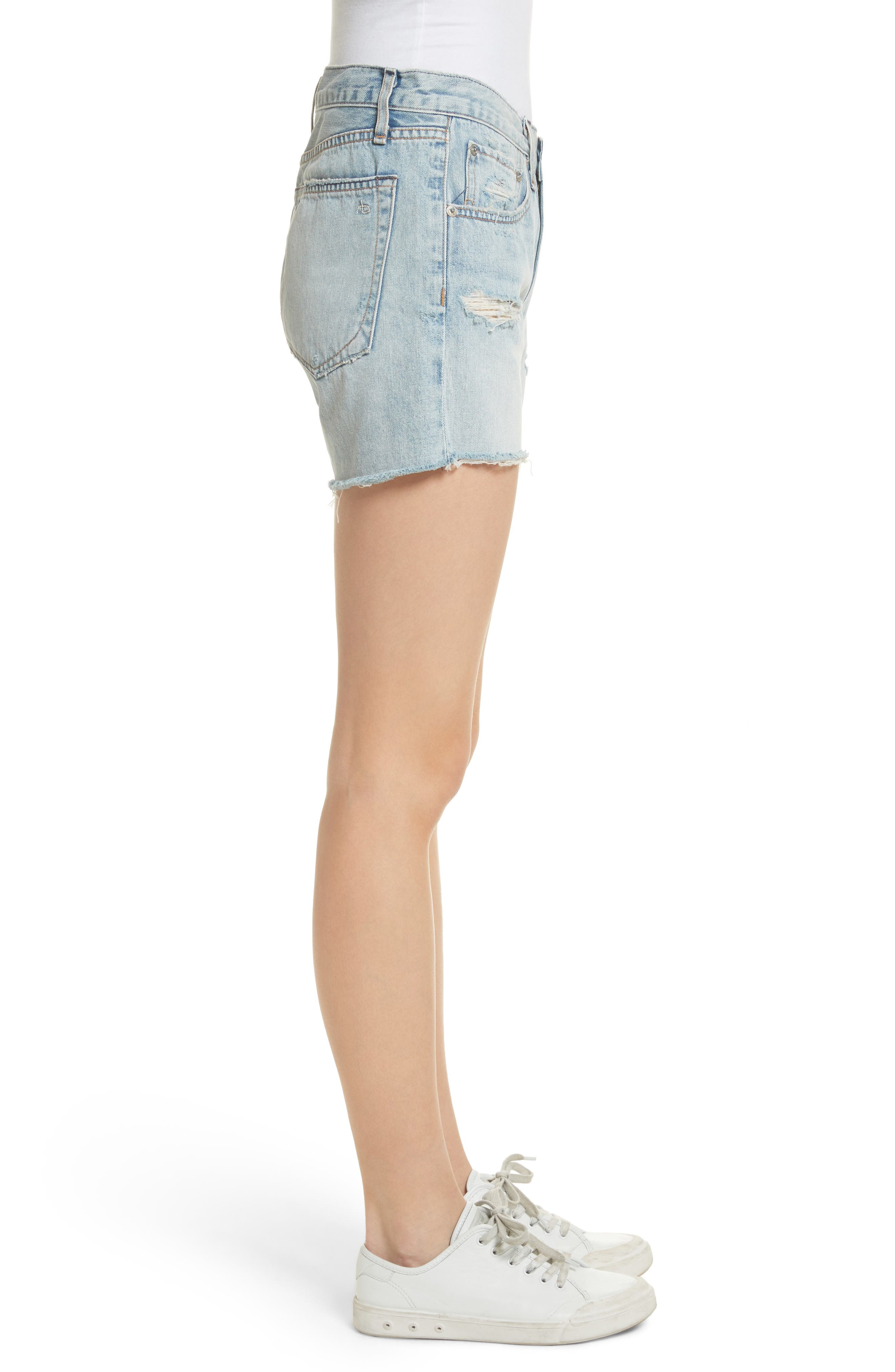 Boy Fray Denim Shorts,                             Alternate thumbnail 3, color,                             450