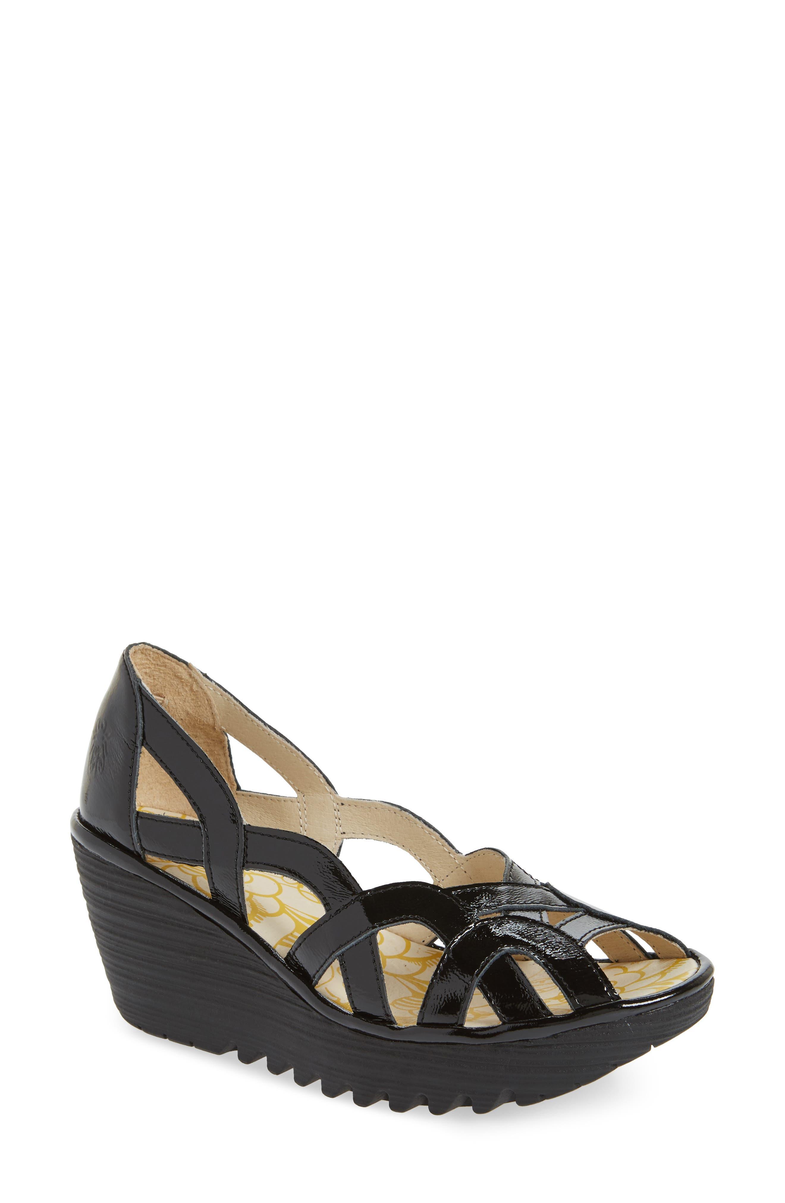 Yadi Wedge Sandal,                         Main,                         color, BLACK LUXOR LEATHER