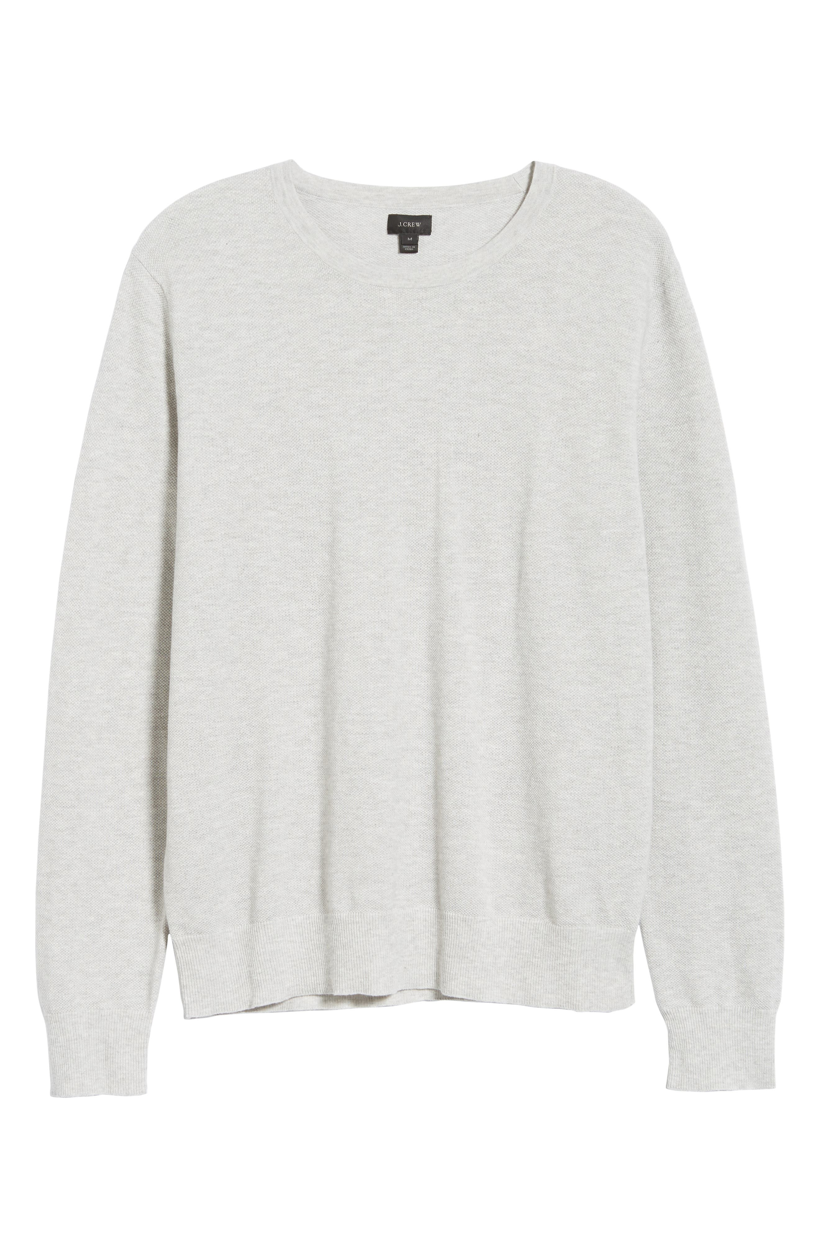 Cotton & Cashmere Piqué Crewneck Sweater,                             Alternate thumbnail 6, color,                             HEATHER SILVER