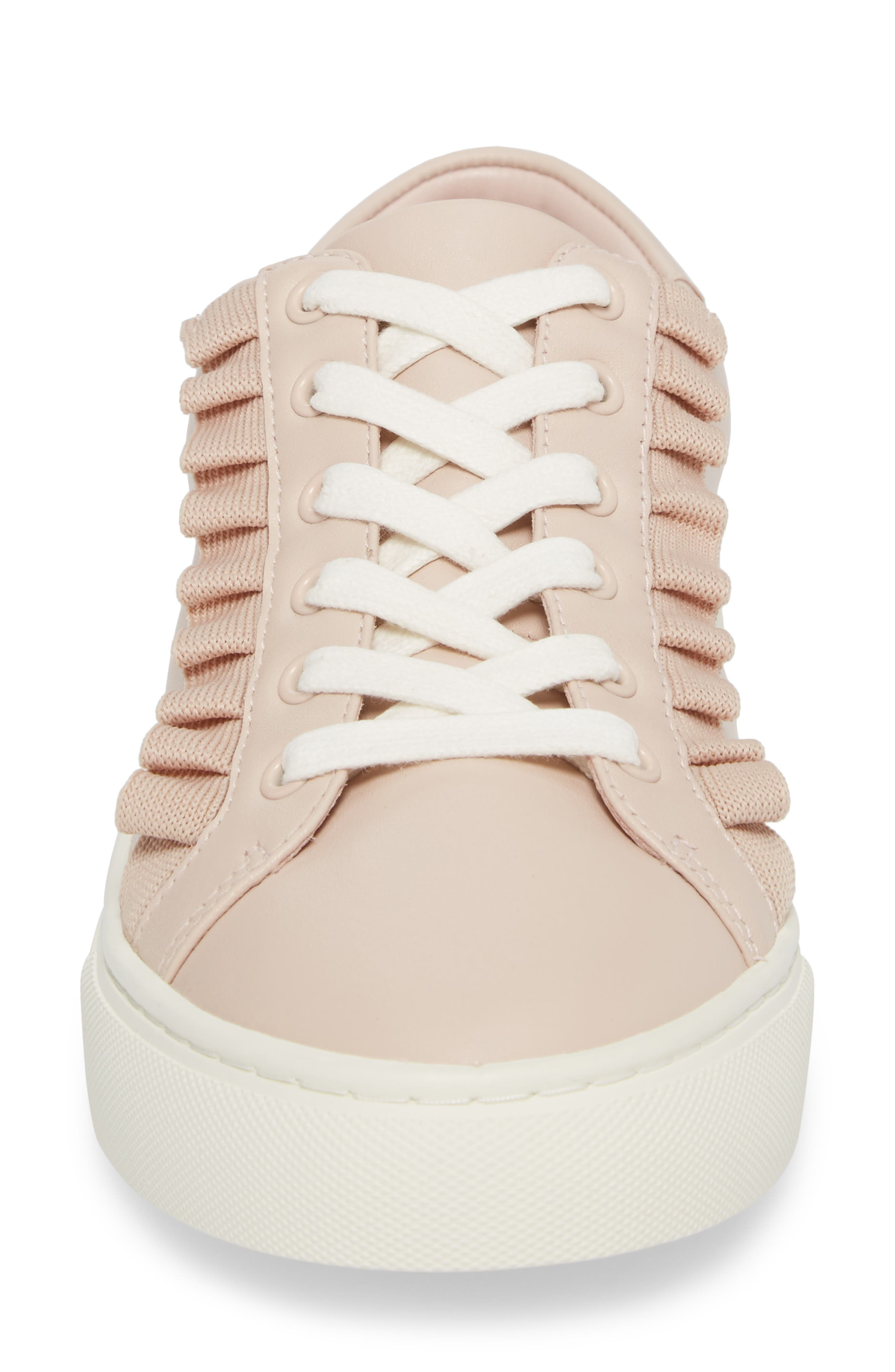 Ruffle Sneaker,                             Alternate thumbnail 4, color,                             SHELL PINK