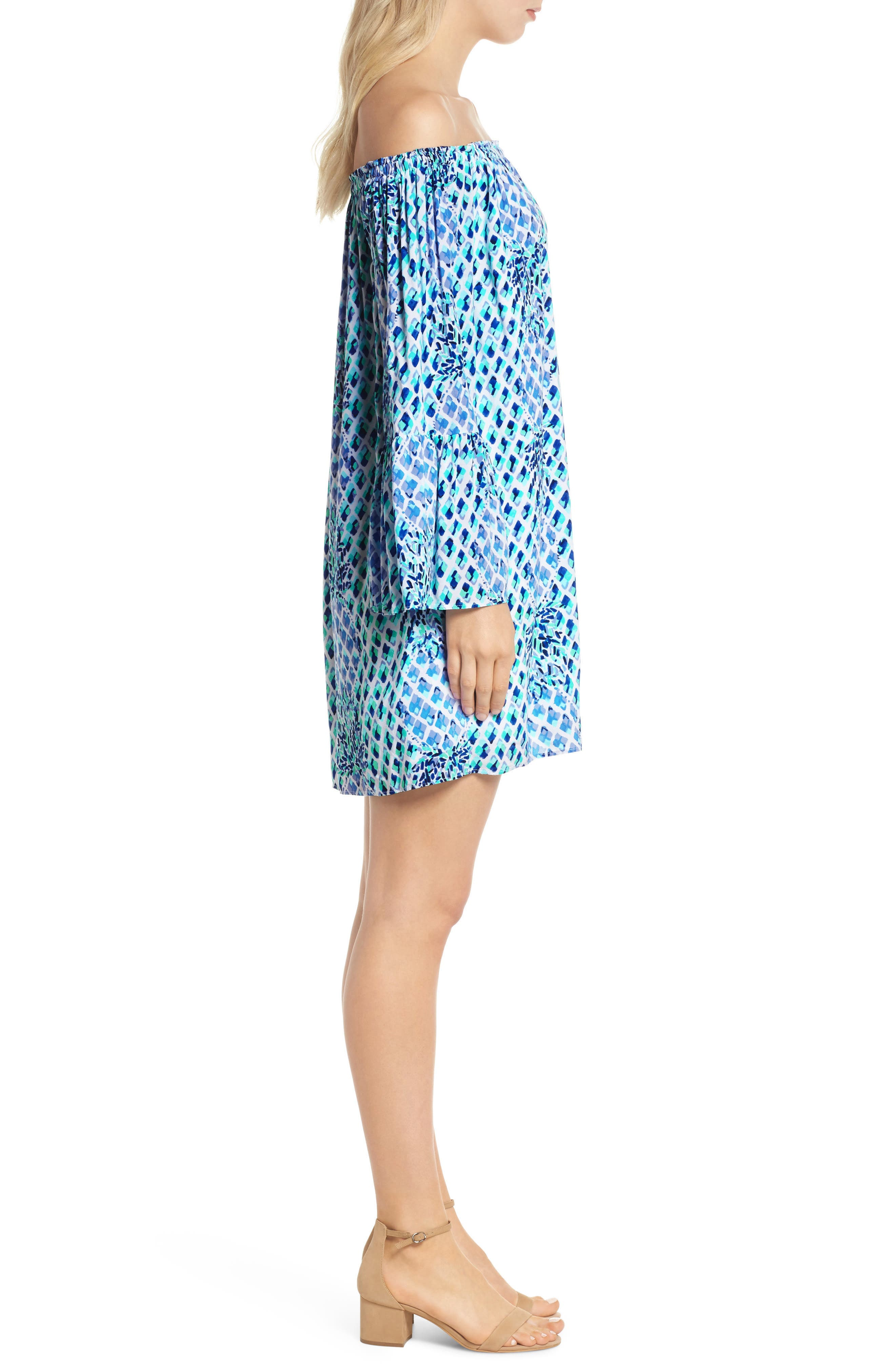 Lilly Pullitzer<sup>®</sup> Nevie Off the Shoulder Dress,                             Alternate thumbnail 3, color,