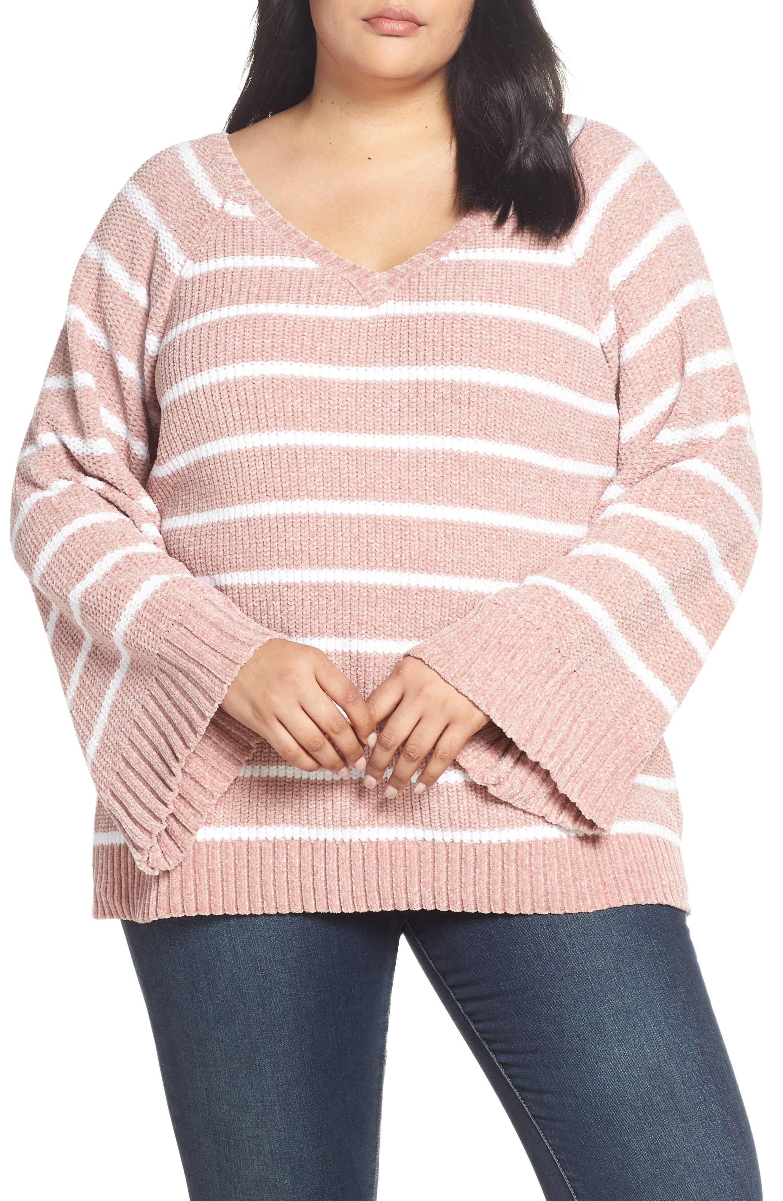 Plus Size & .layered Stripe V-Neck Sweater, Pink
