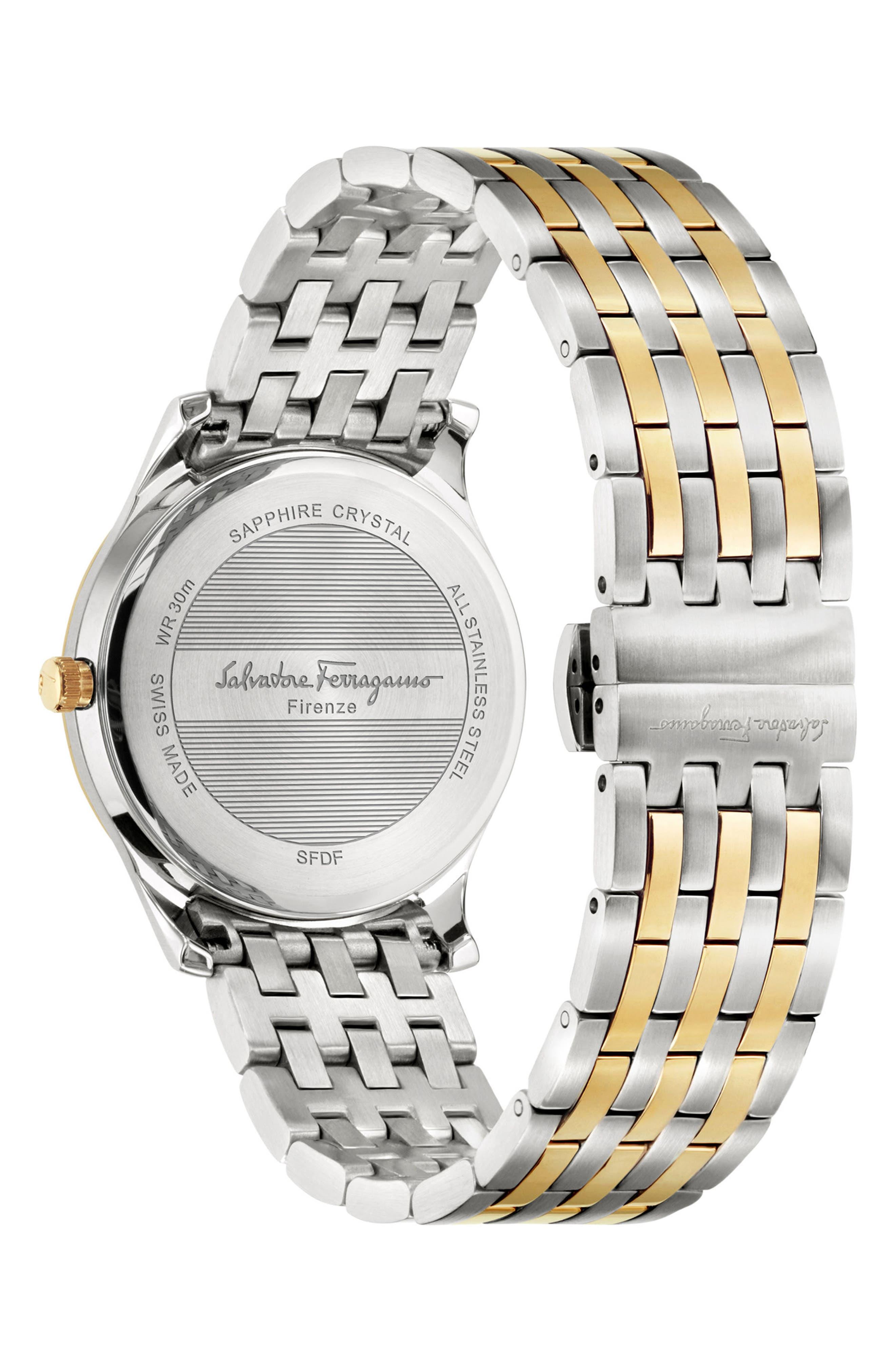 Slim Formal Bracelet Watch, 35mm,                             Alternate thumbnail 2, color,                             SILVER/ WHITE/ GOLD