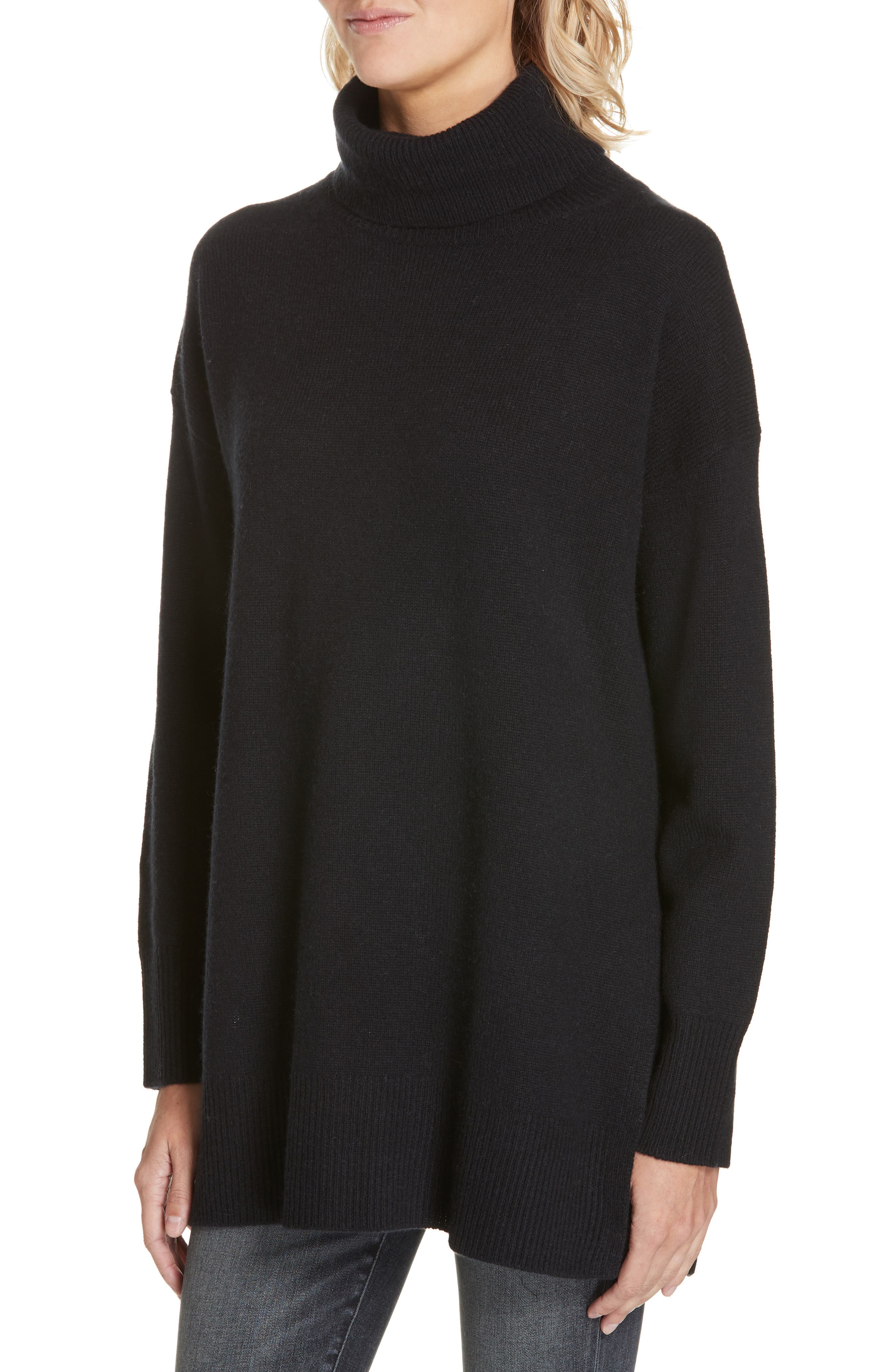 NORDSTROM SIGNATURE,                             Cashmere Turtleneck Pullover,                             Alternate thumbnail 4, color,                             001