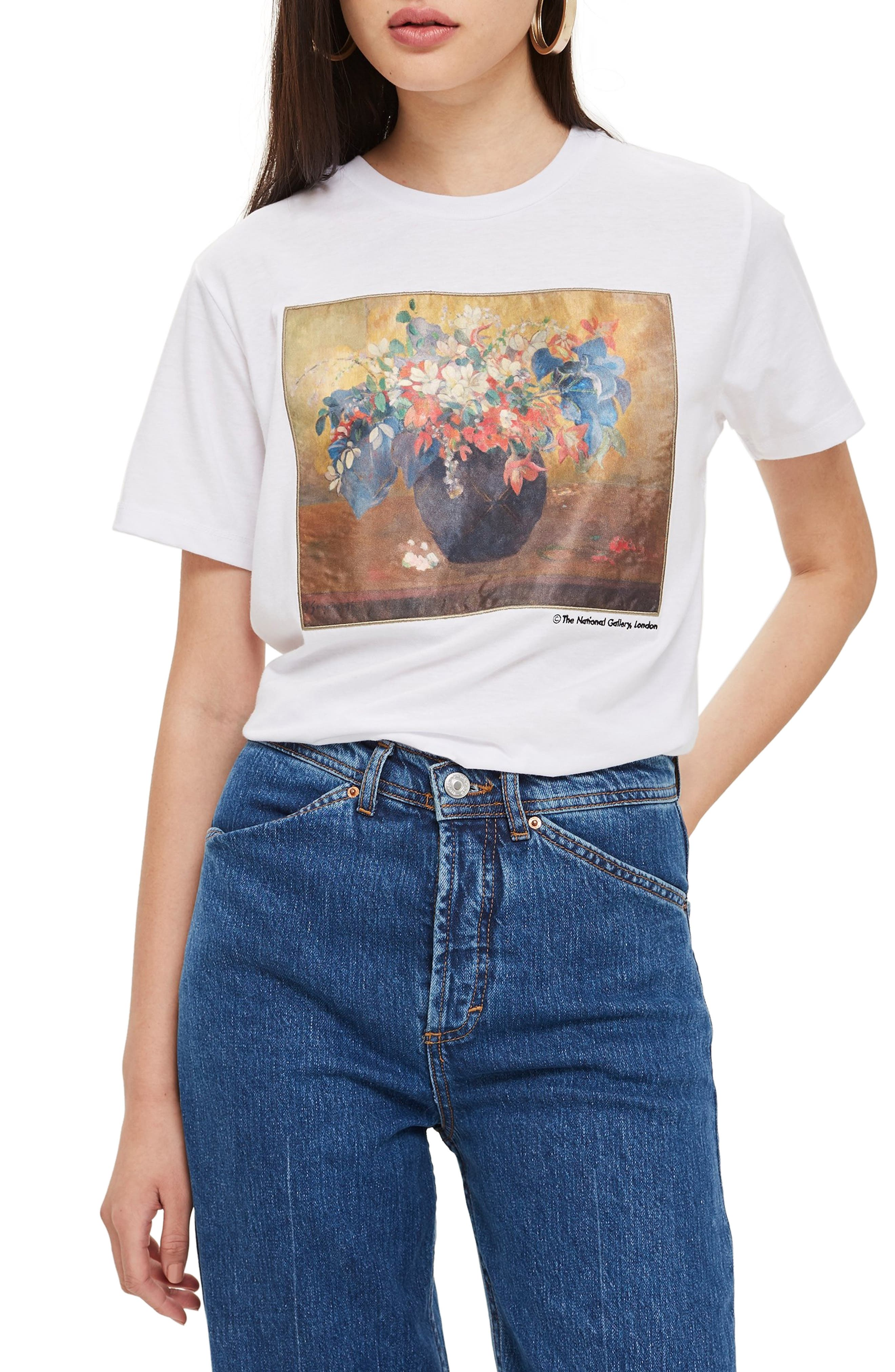 by Tee & Cake Vase of Flowers Tee,                             Main thumbnail 1, color,                             WHITE MULTI