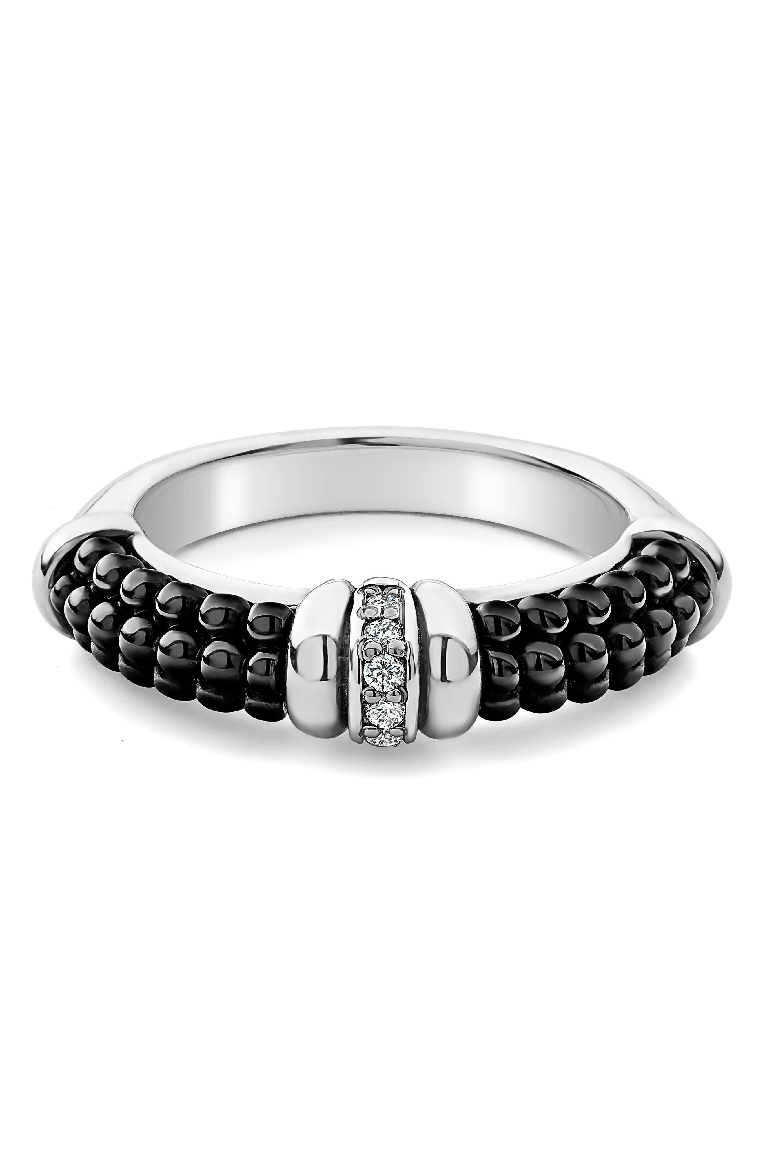 Black Caviar Diamond Stack Ring,                             Alternate thumbnail 5, color,                             SILVER/ BLACK