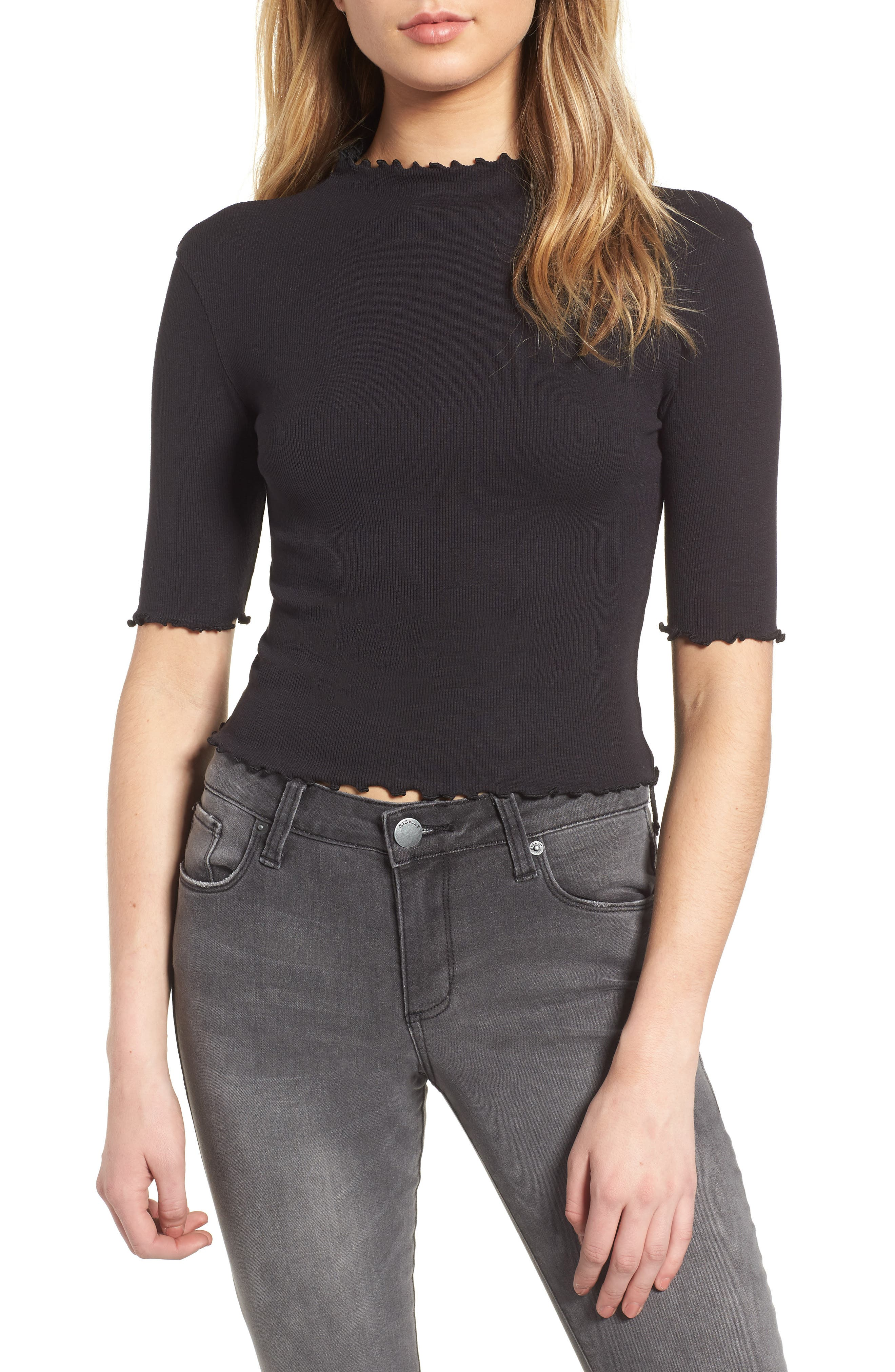 Lettuce Edge Ribbed Top,                         Main,                         color, 001