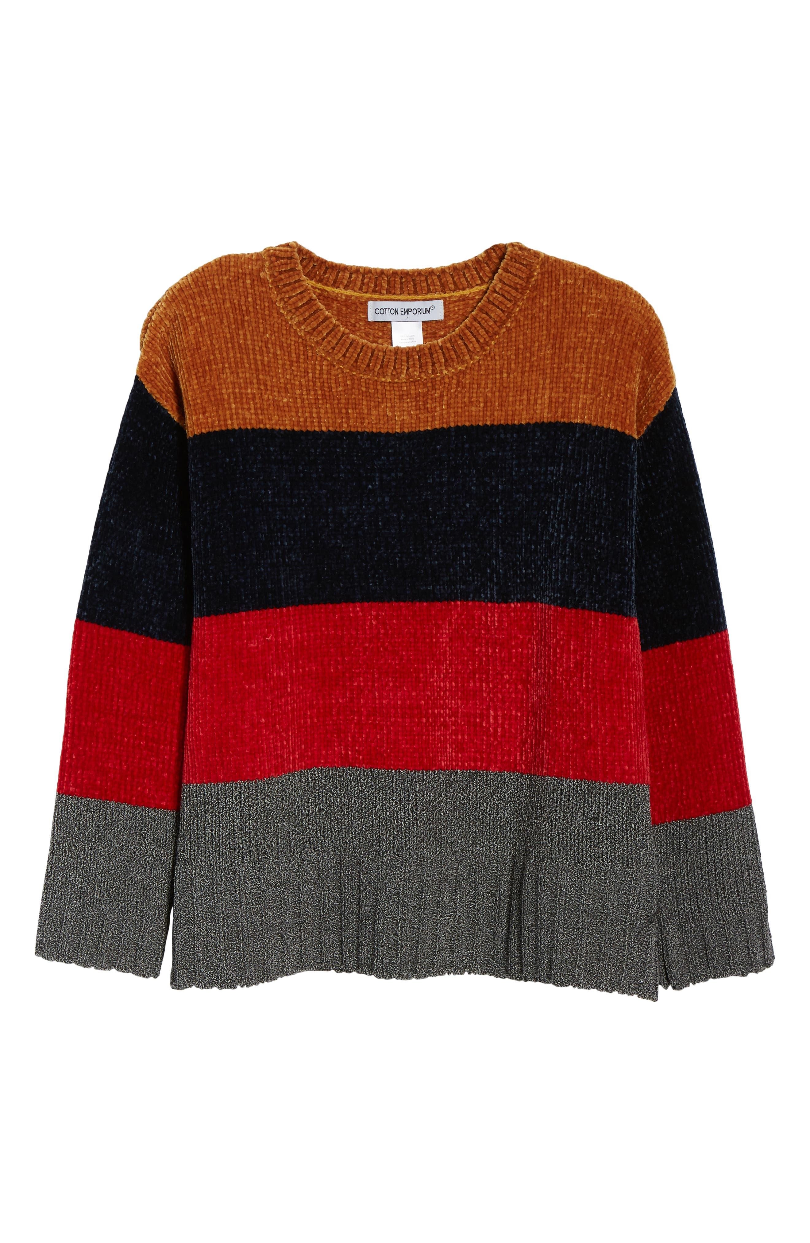 COTTON EMPORIUM,                             Stripe Chenille Sweater,                             Alternate thumbnail 6, color,                             710