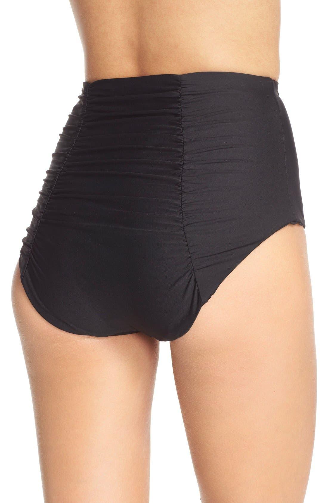 Color Code High Waist Bikini Bottoms,                             Alternate thumbnail 5, color,                             BLACK
