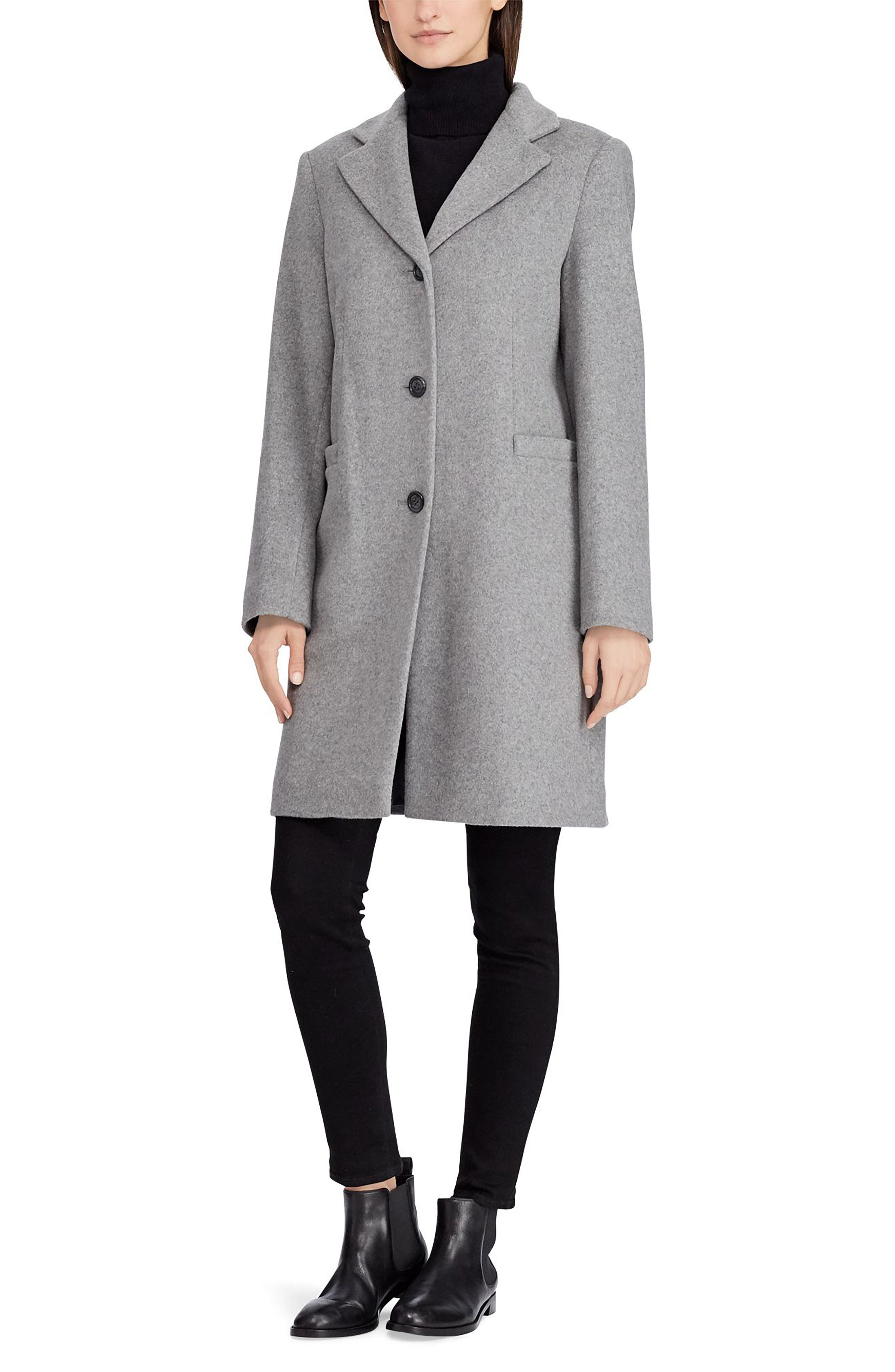 Wool Blend Reefer Coat,                             Alternate thumbnail 4, color,                             ALASKAN GREY