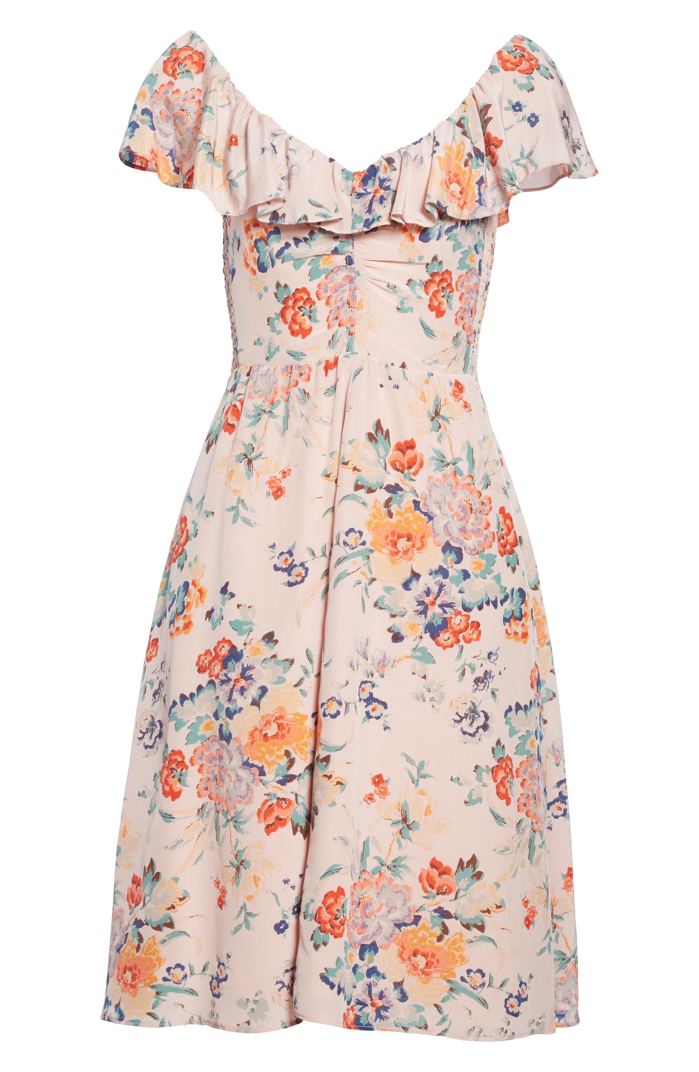 Marlena Ruffle Silk Dress,                             Alternate thumbnail 6, color,                             657