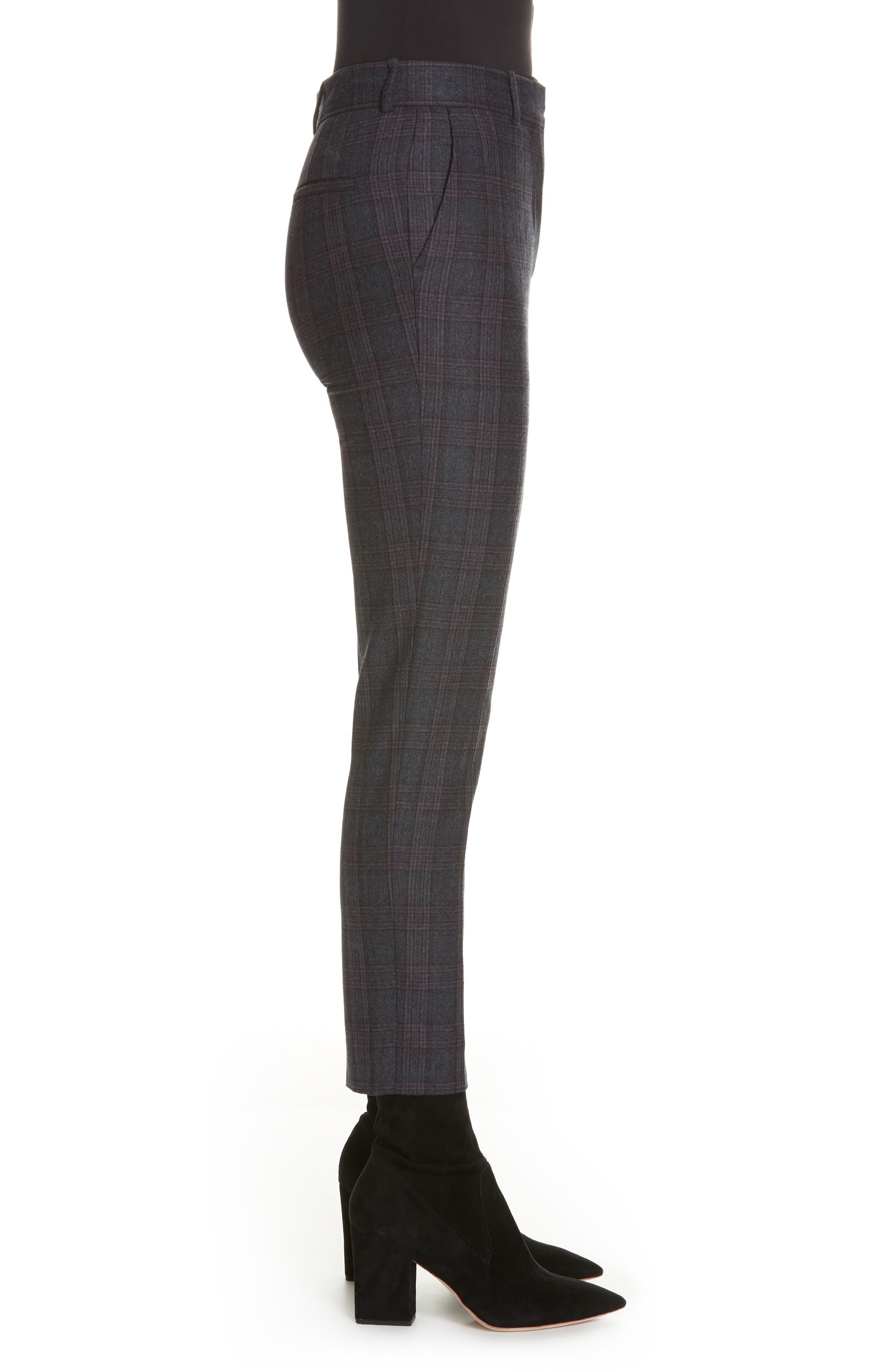 Plaid Stretch Wool Blend Pants,                             Alternate thumbnail 3, color,                             BLUE