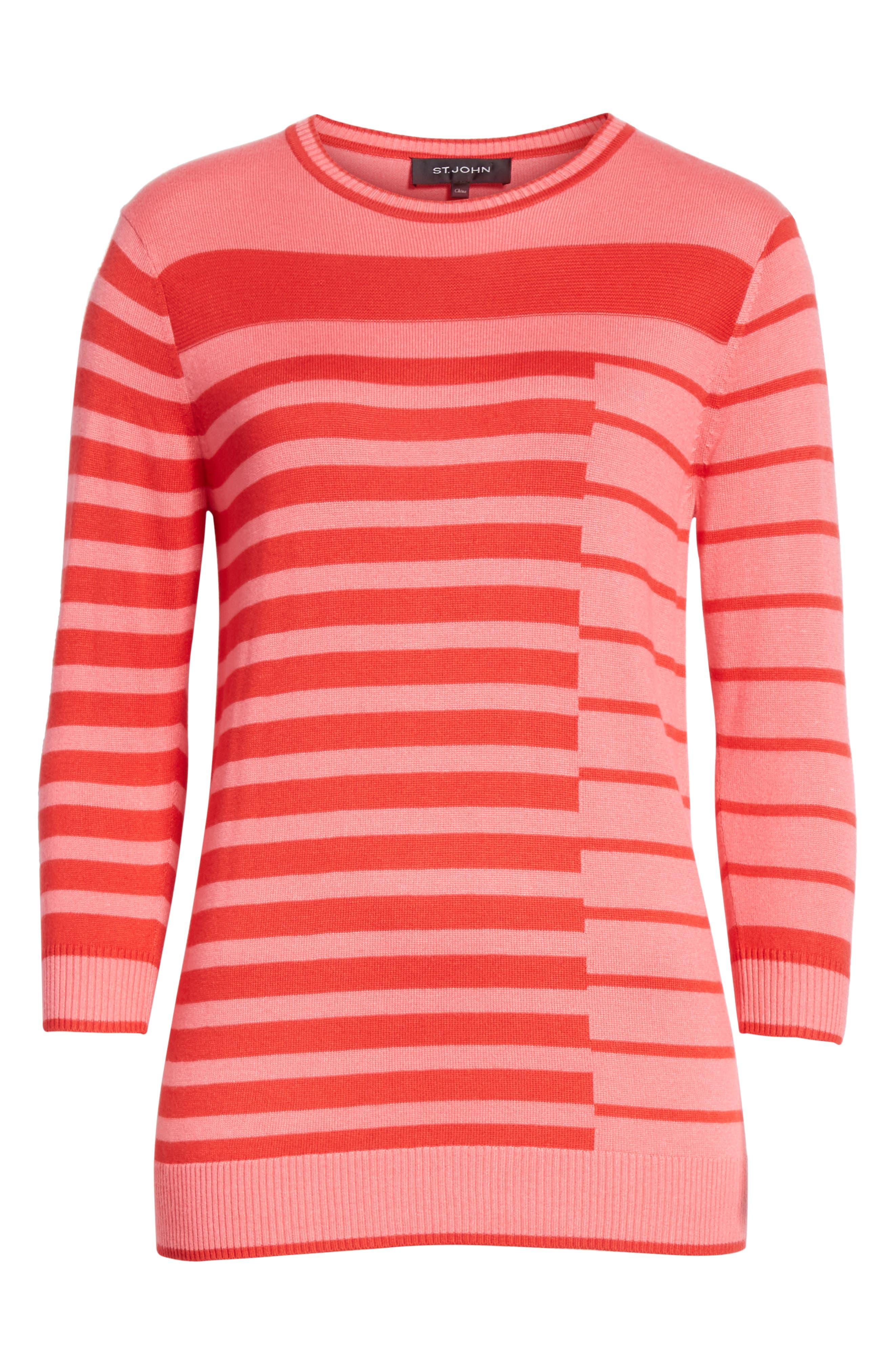 Intarsia Stripe Sweater,                             Alternate thumbnail 6, color,                             660