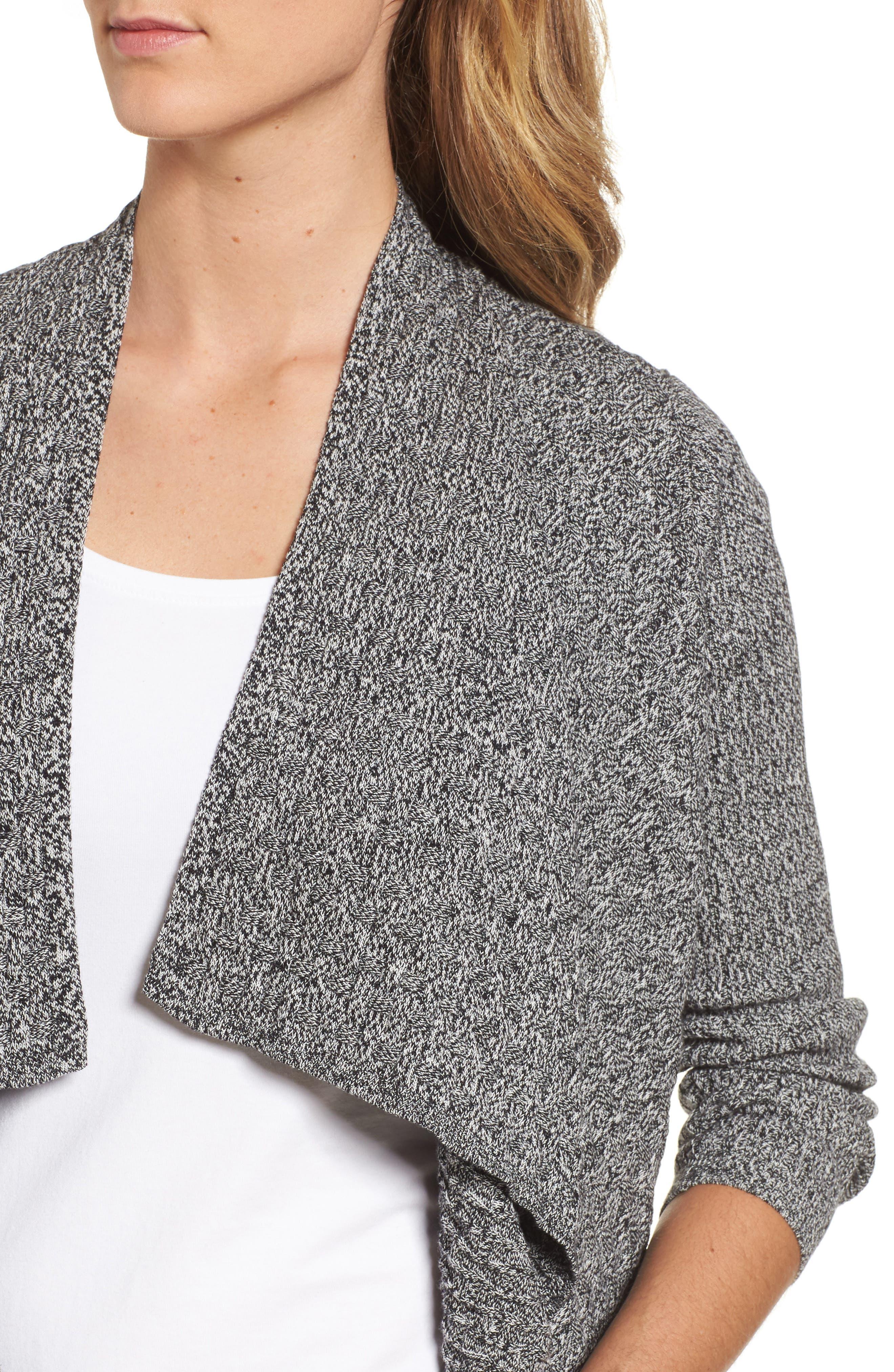 Mixed Cotton Knit Cardigan,                             Alternate thumbnail 4, color,                             005