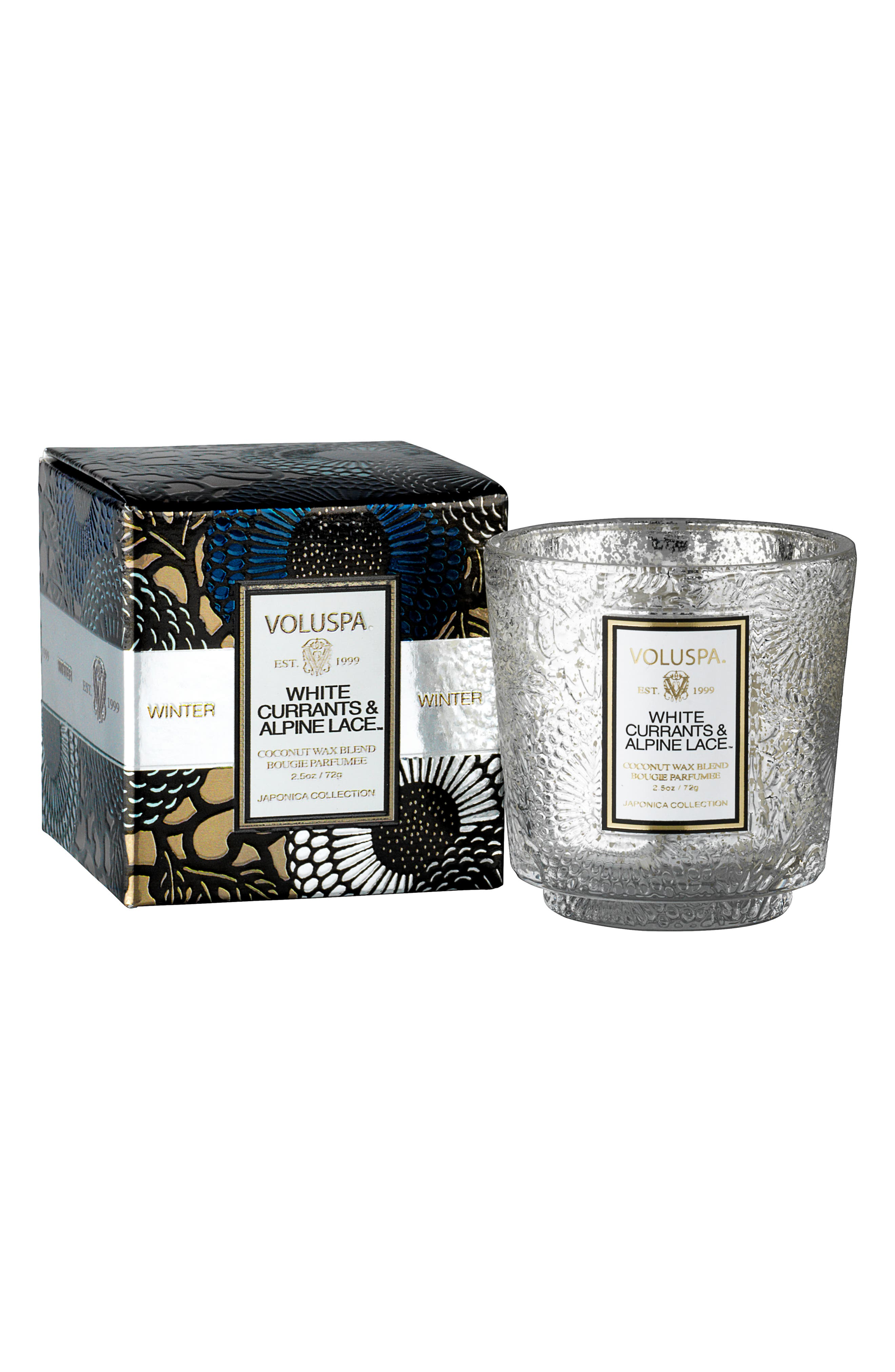 Japonica Pedestal Candle,                         Main,                         color, WHITE CASSIS/ALPINE LACE