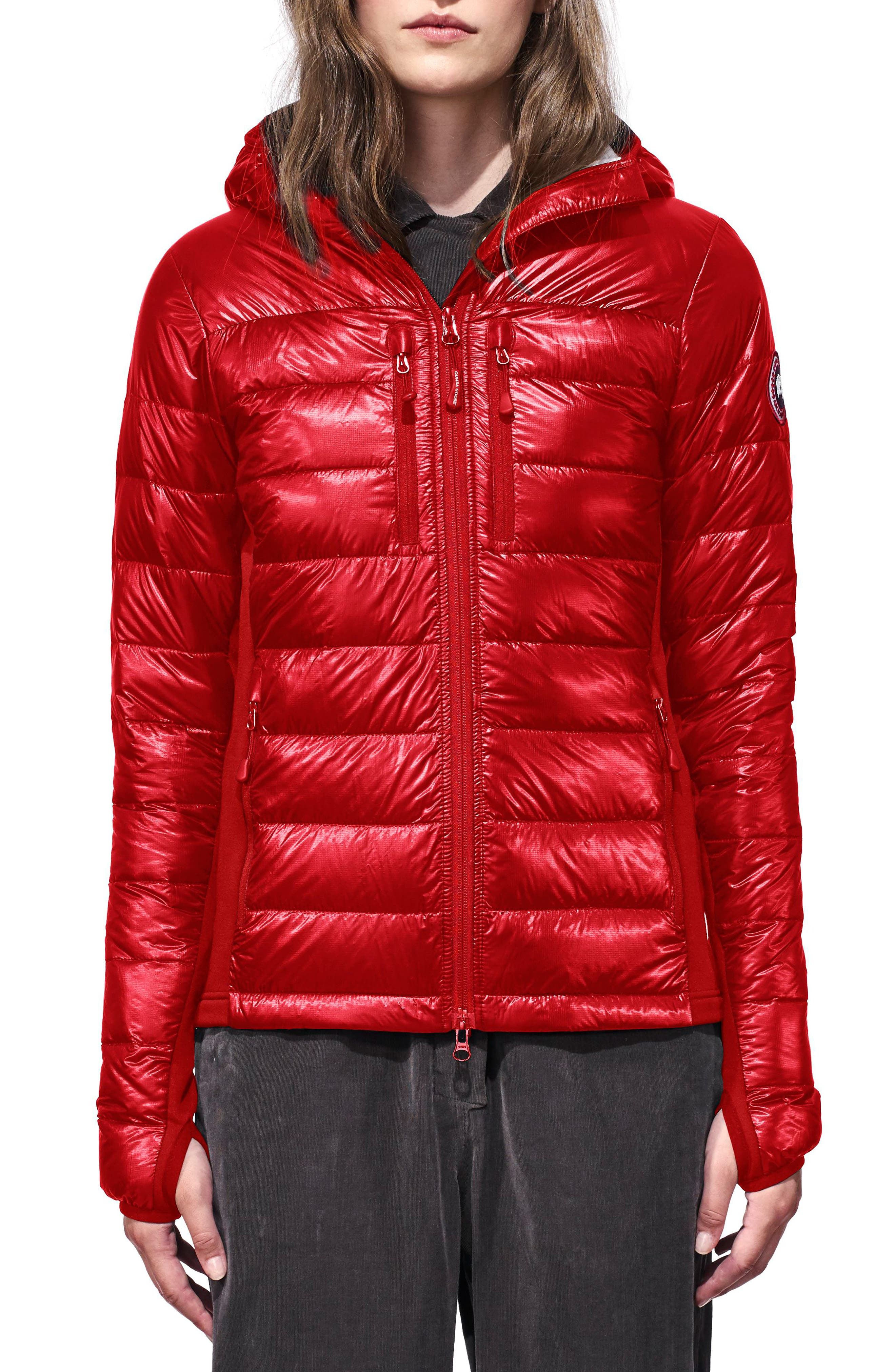 'Hybridge Lite' Slim Fit Hooded Packable Down Jacket,                             Main thumbnail 1, color,                             S RED/ L BLACK