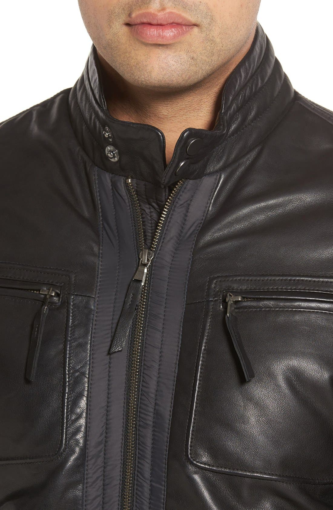 Leather Trimmed Nylon Jacket,                             Alternate thumbnail 4, color,