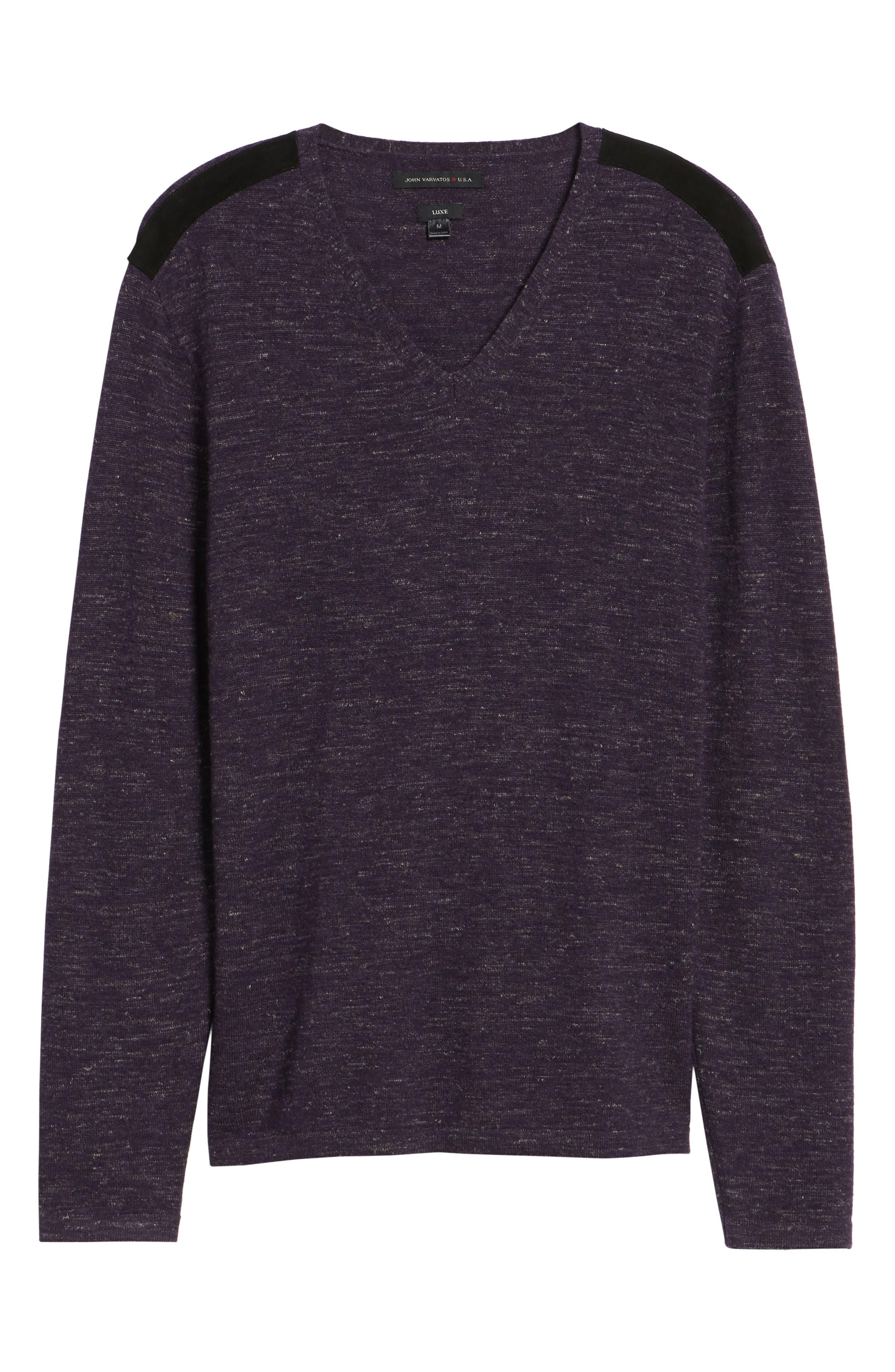 Long Sleeve V-Neck Sweater,                             Alternate thumbnail 18, color,