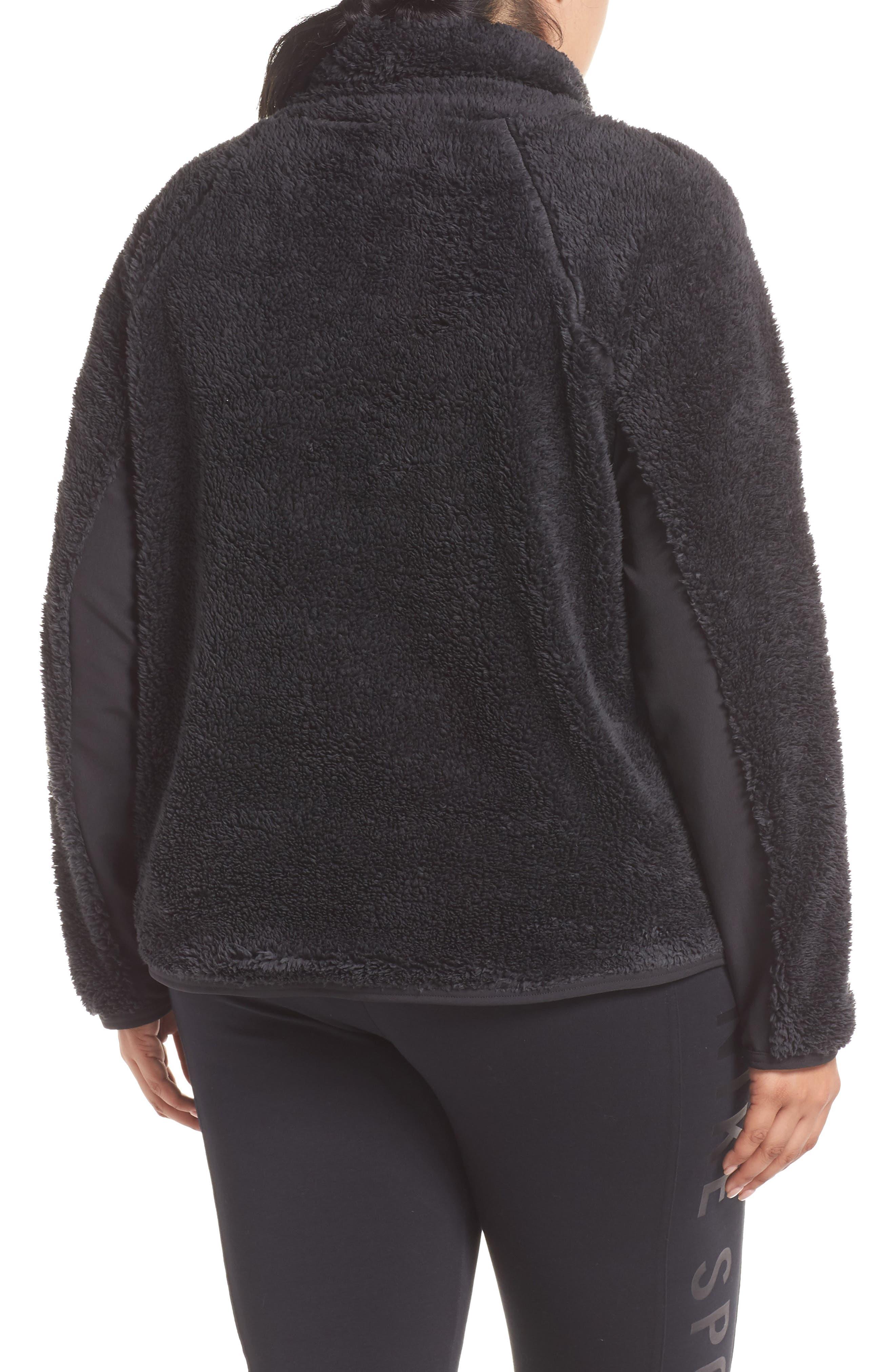 NIKE,                             Faux Shearling Pullover,                             Alternate thumbnail 2, color,                             BLACK/ BLACK