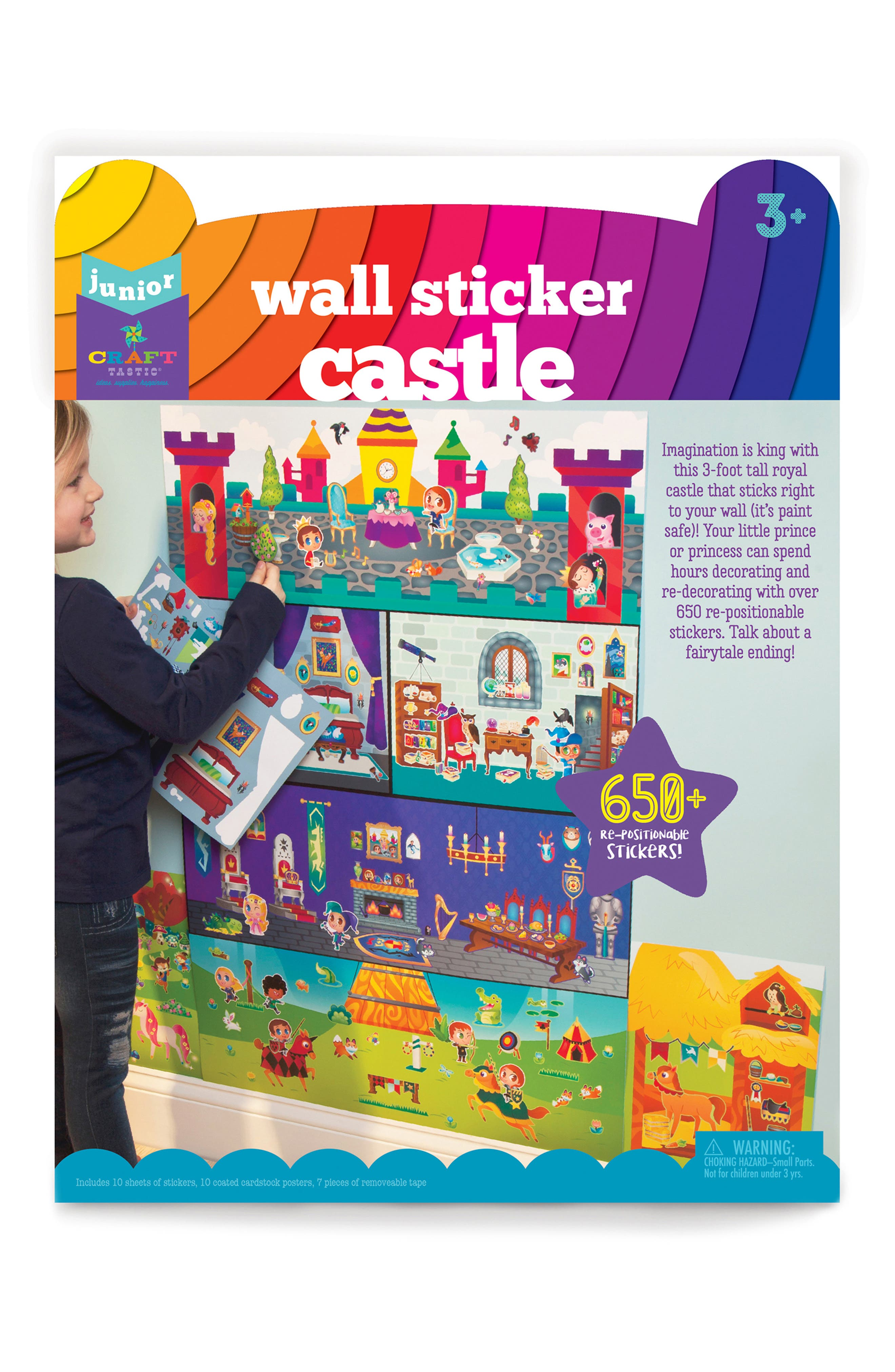 Jr. Wall Sticker Castle Set,                             Main thumbnail 1, color,                             MULTI