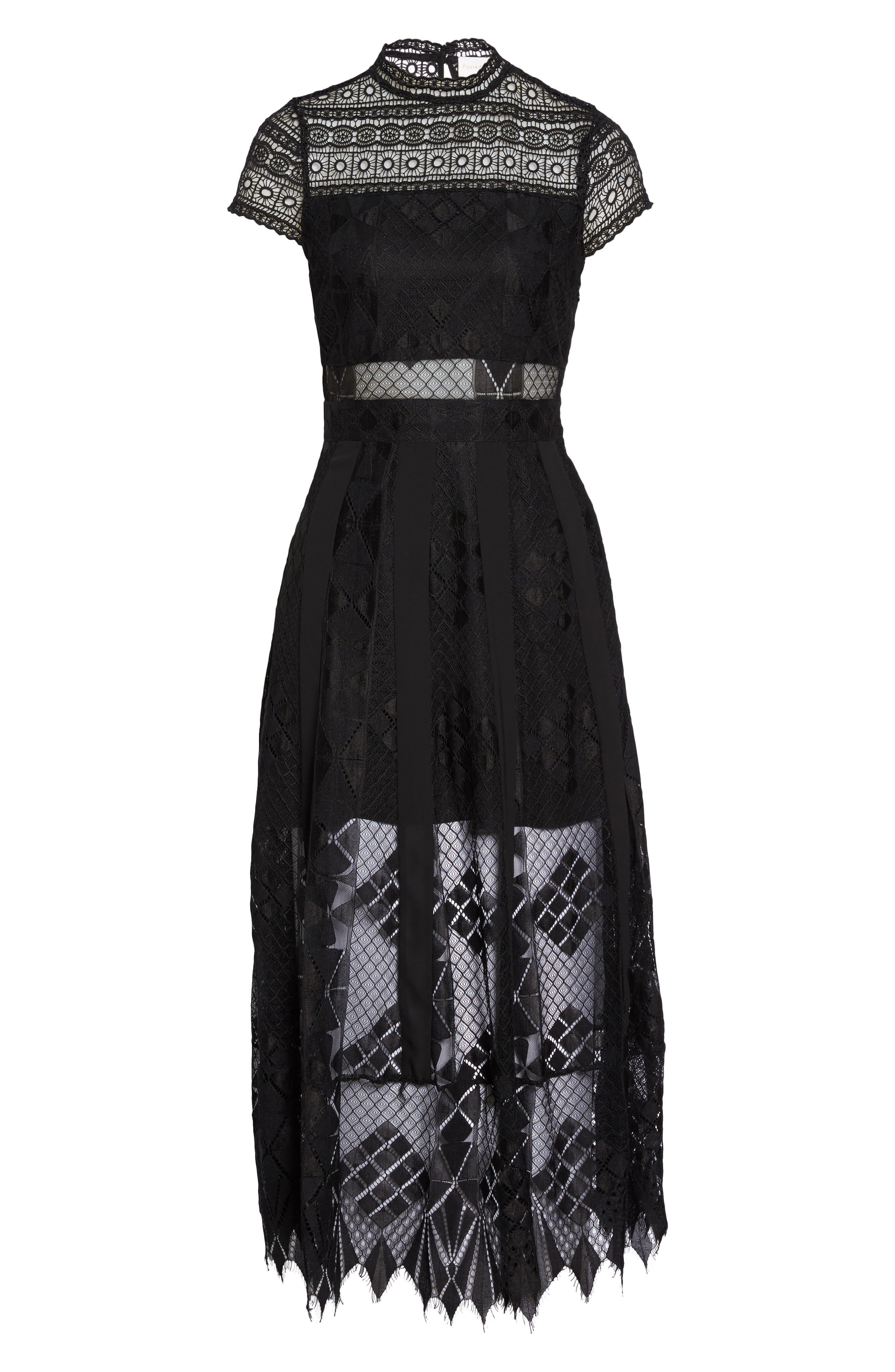 FOXIEDOX,                             Calla Lace Midi Dress,                             Alternate thumbnail 6, color,                             001