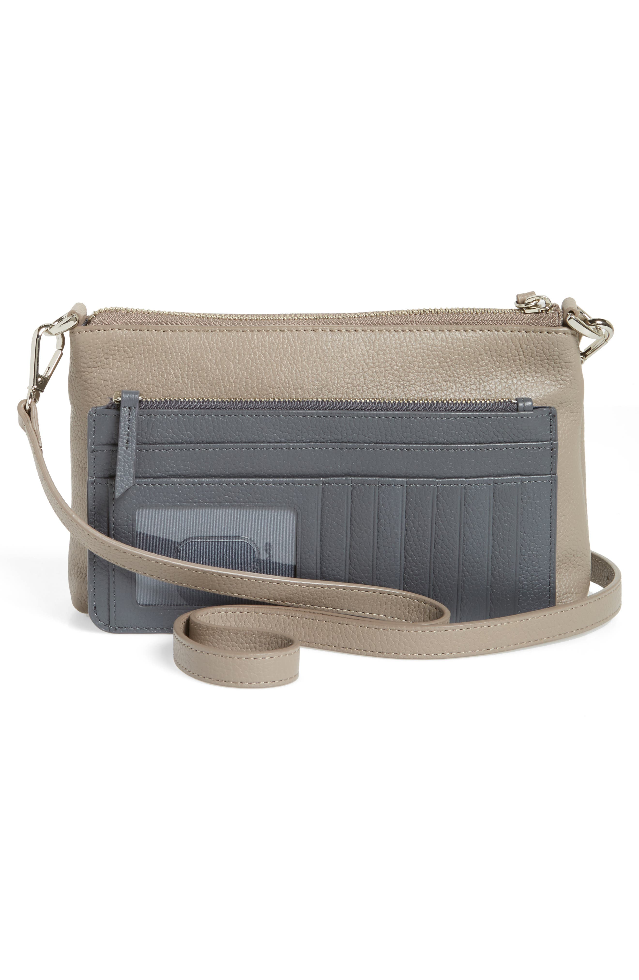 Brixton Convertible Leather Crossbody Bag with Pop-Out Card Holder,                             Alternate thumbnail 8, color,                             GREY TAUPE