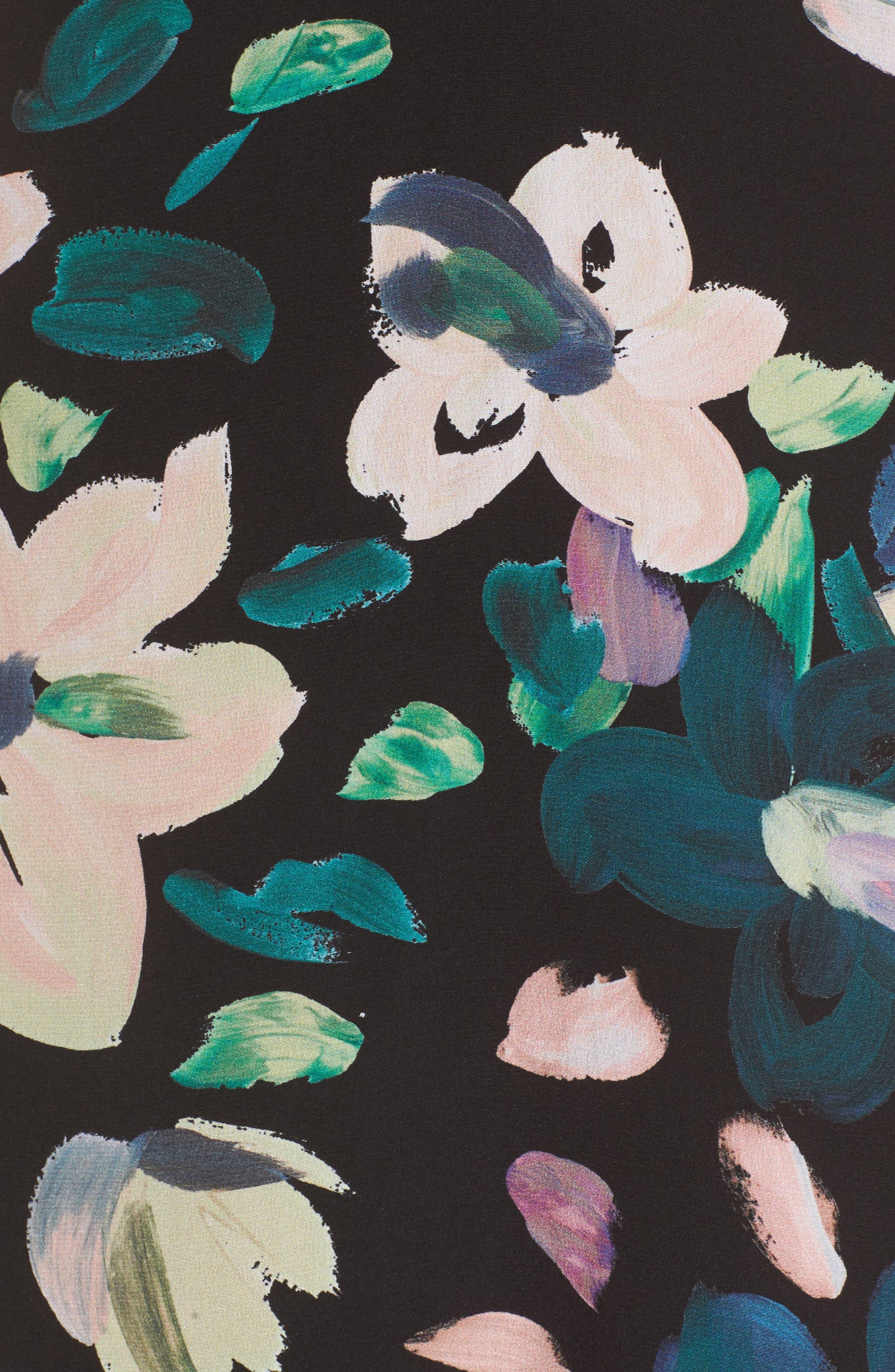 Flores Off the Shoulder Midi Dress,                             Alternate thumbnail 5, color,                             001