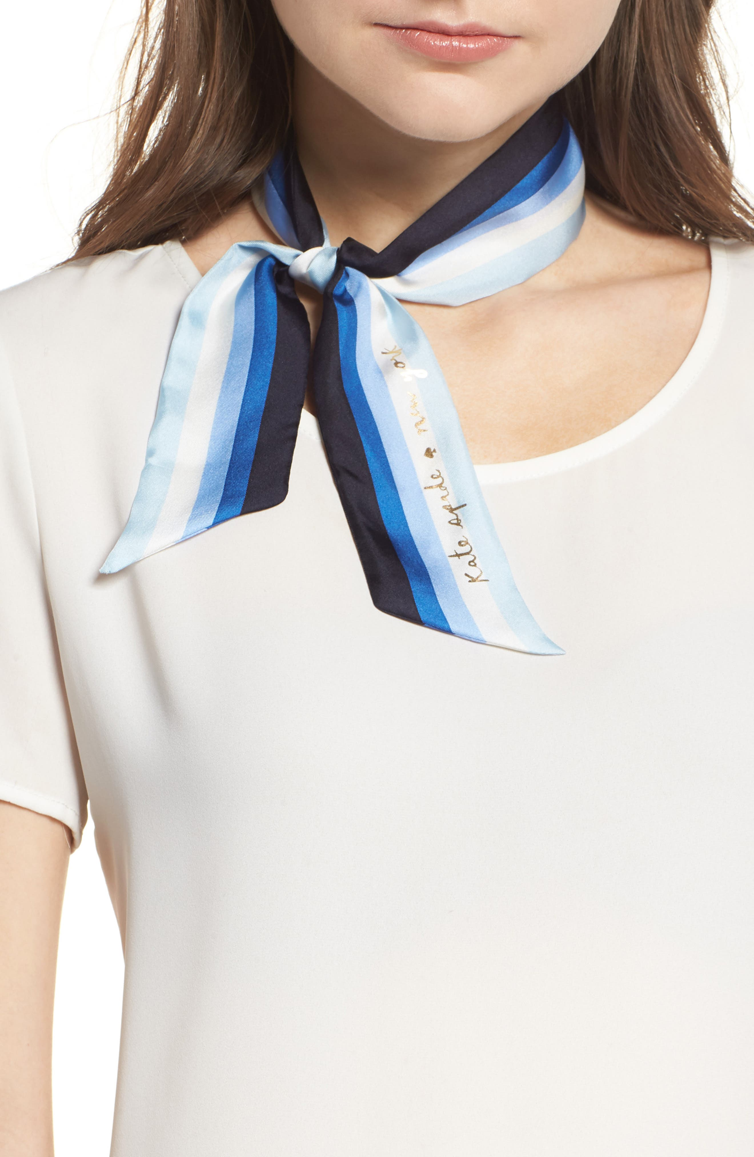 KATE SPADE NEW YORK ombré stripe skinny scarf, Main, color, 454
