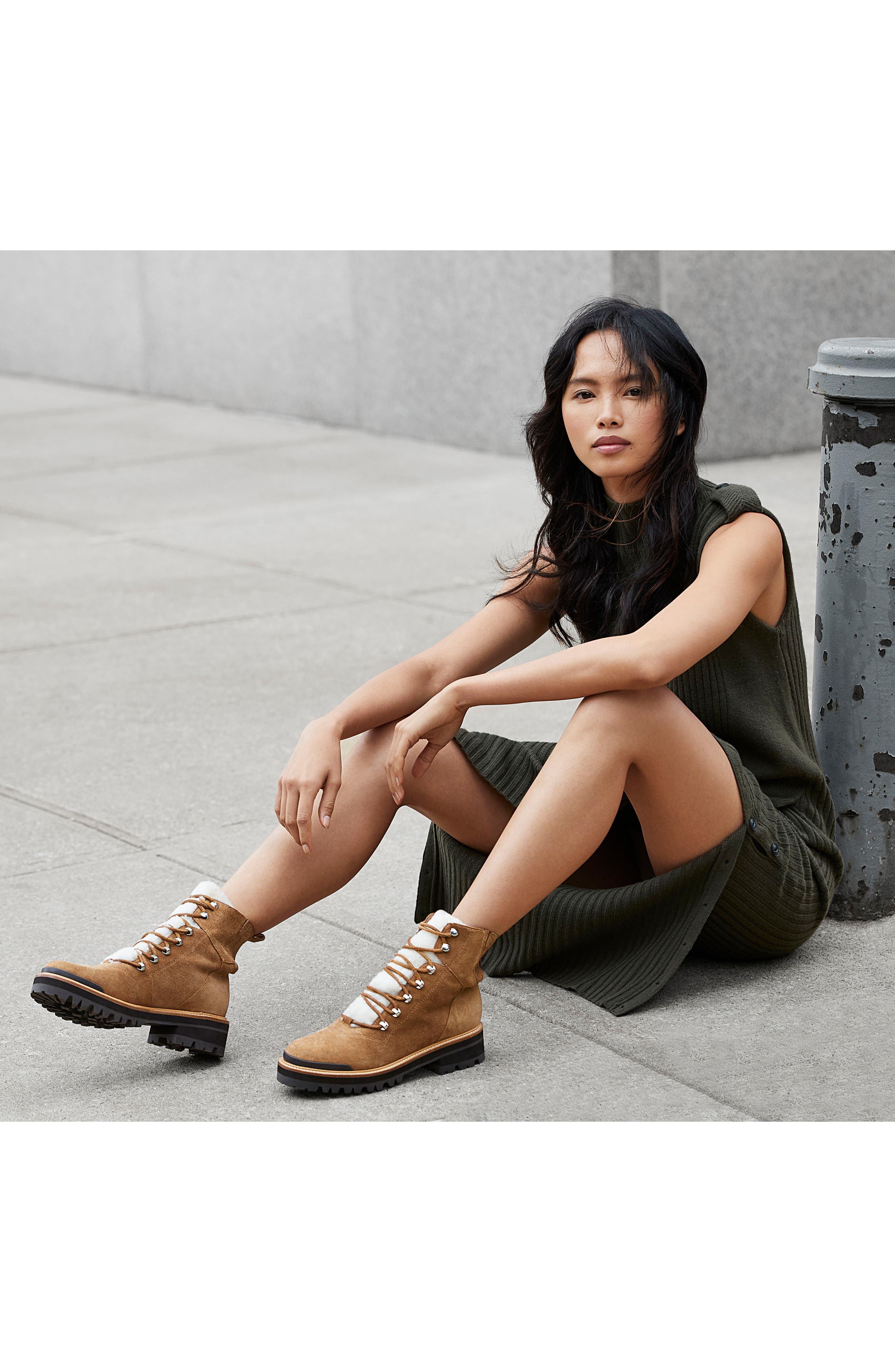 Izzie Genuine Shearling Lace-Up Boot,                             Alternate thumbnail 7, color,                             COGNAC SUEDE